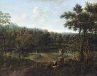 A wooded Italianate landscape with figures beside a lake