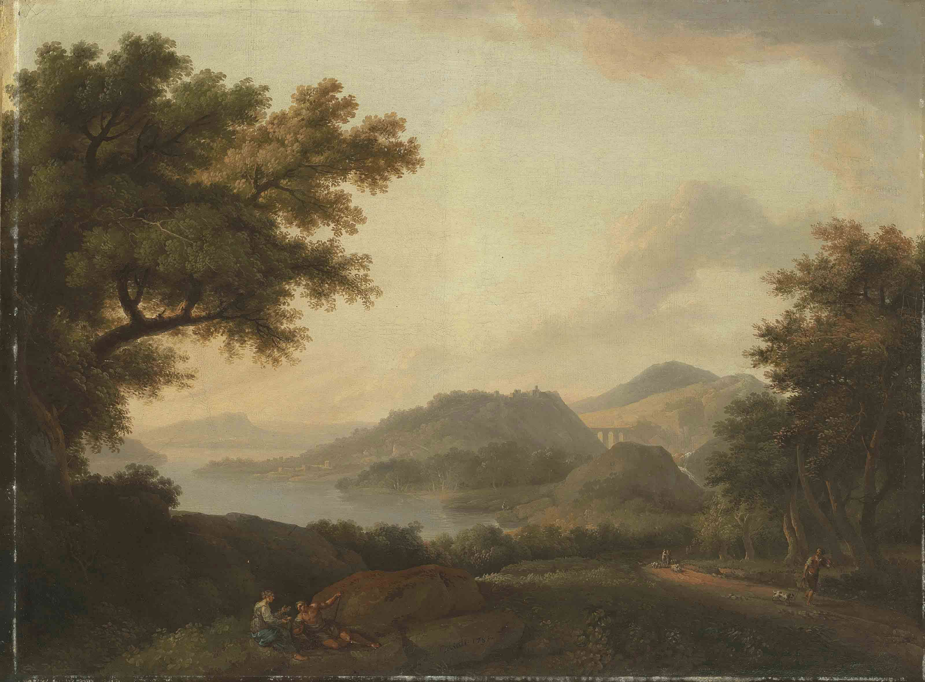 A classical mountainous river landscape with figures resting beside a track