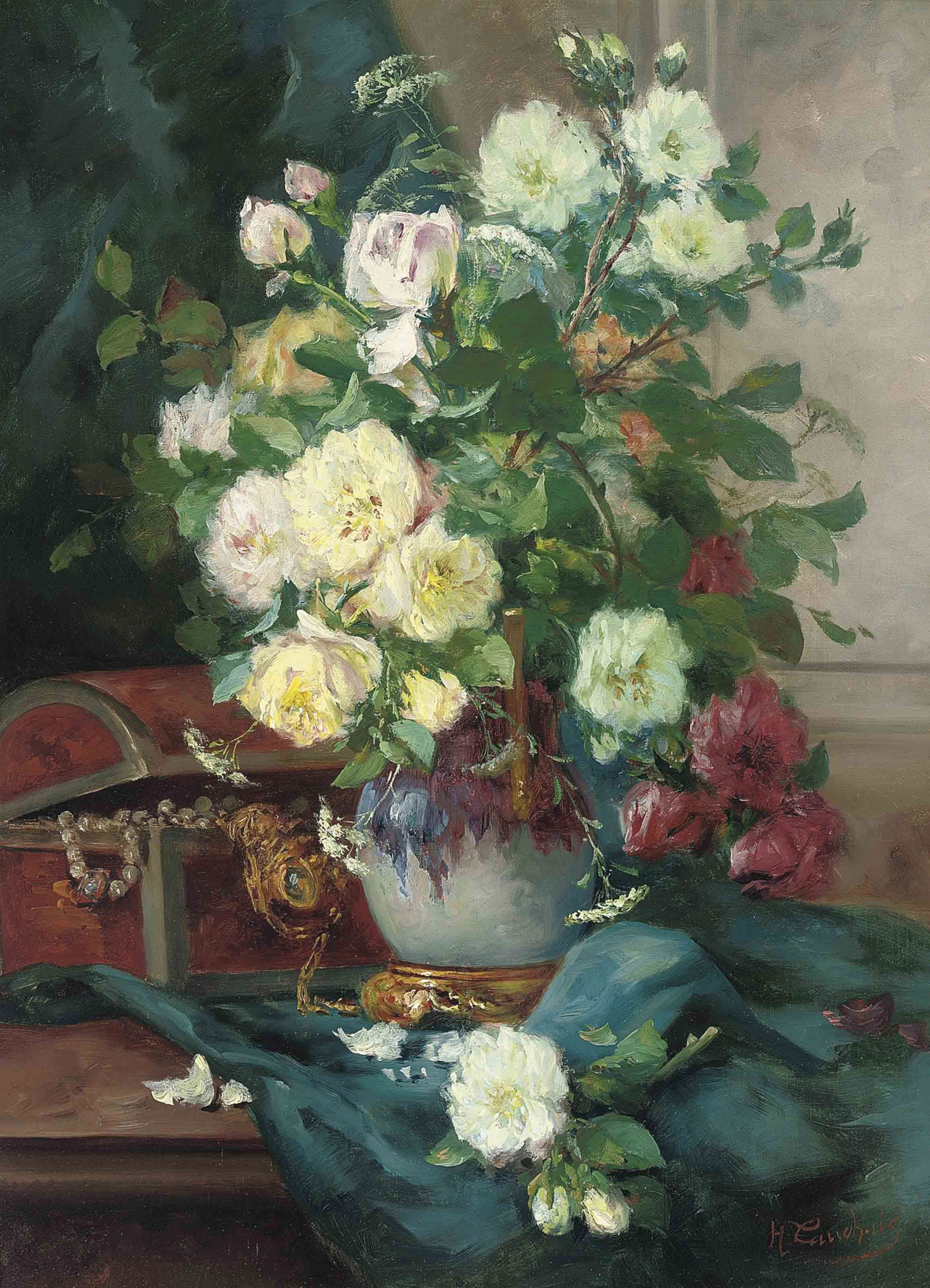 Red roses, white roses and horse parsley in an ornamental vase by a chest of jewels on a draped ledge