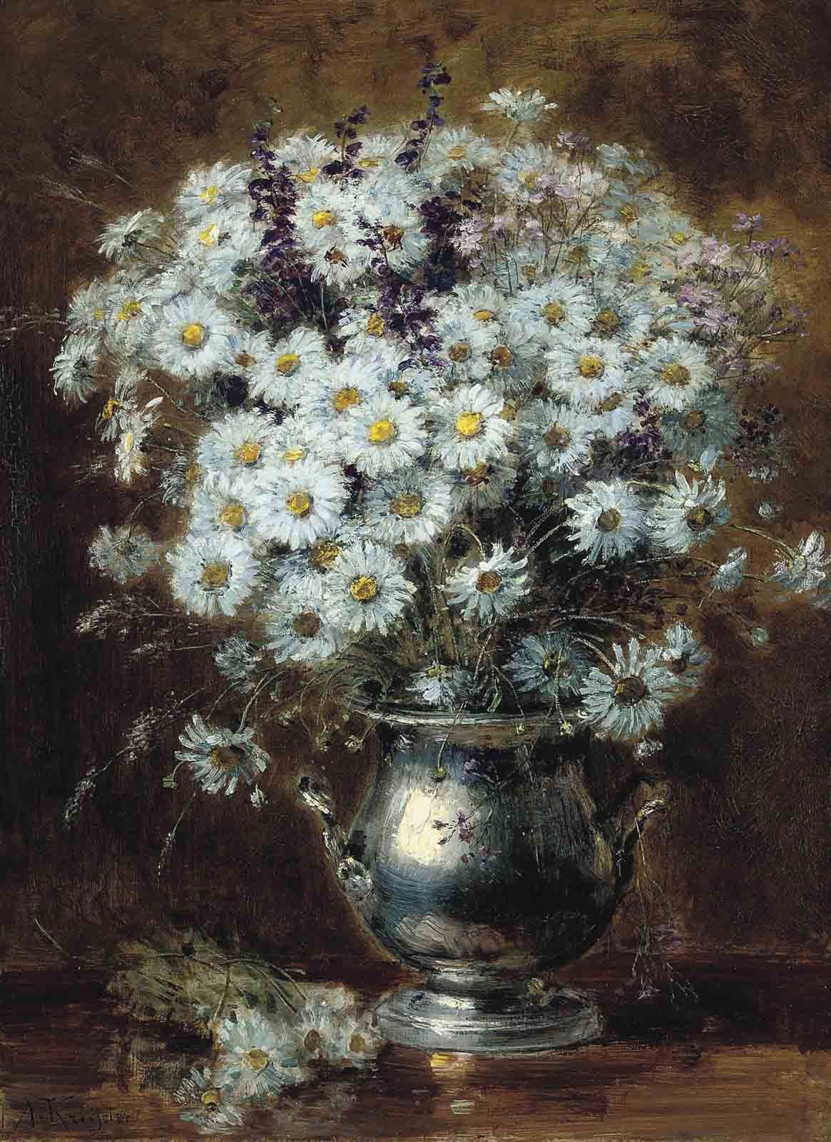 Daisies and other summer blooms in a silver ewer