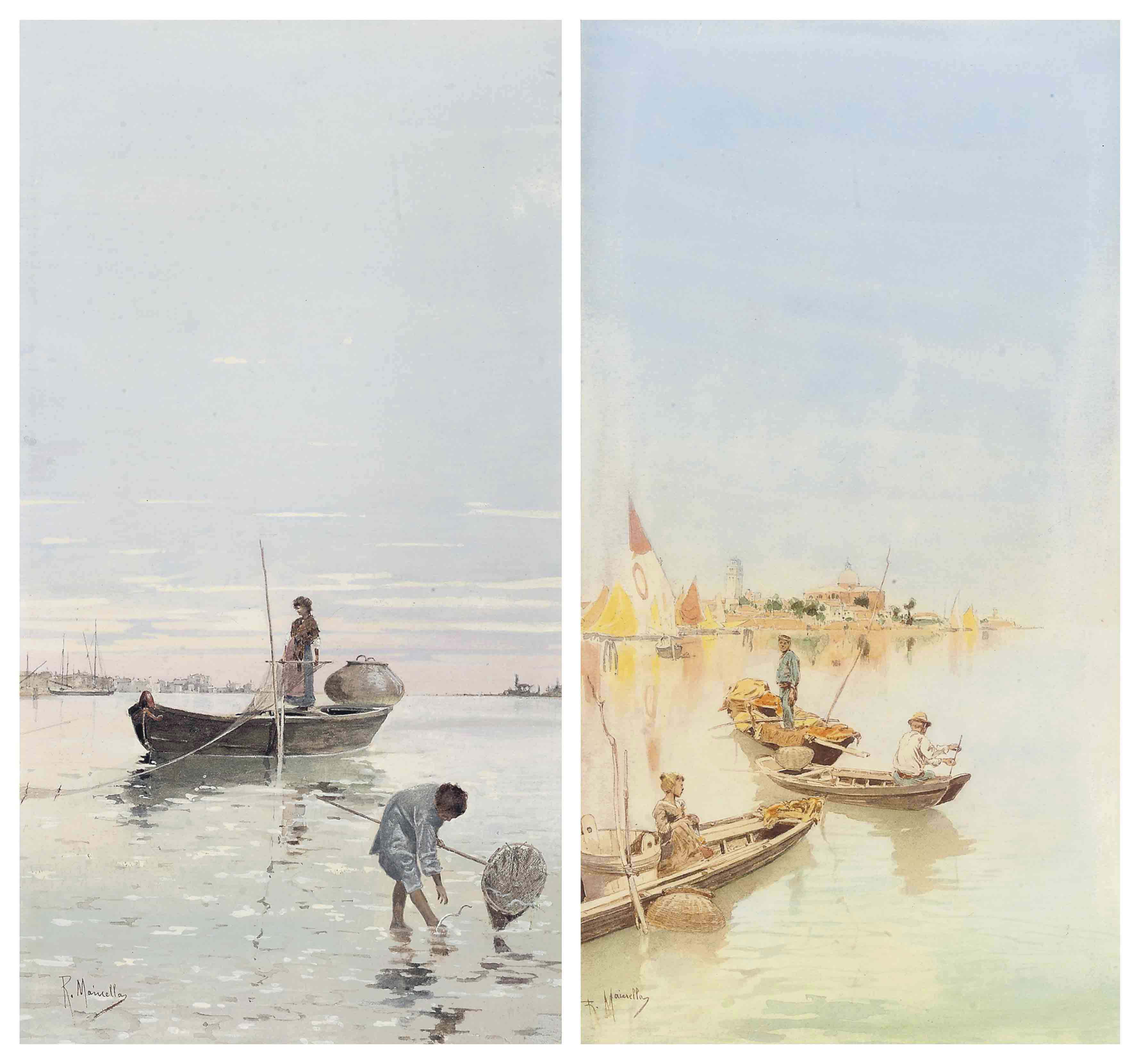 Fishing on the Venetian lagoon; and Another similar