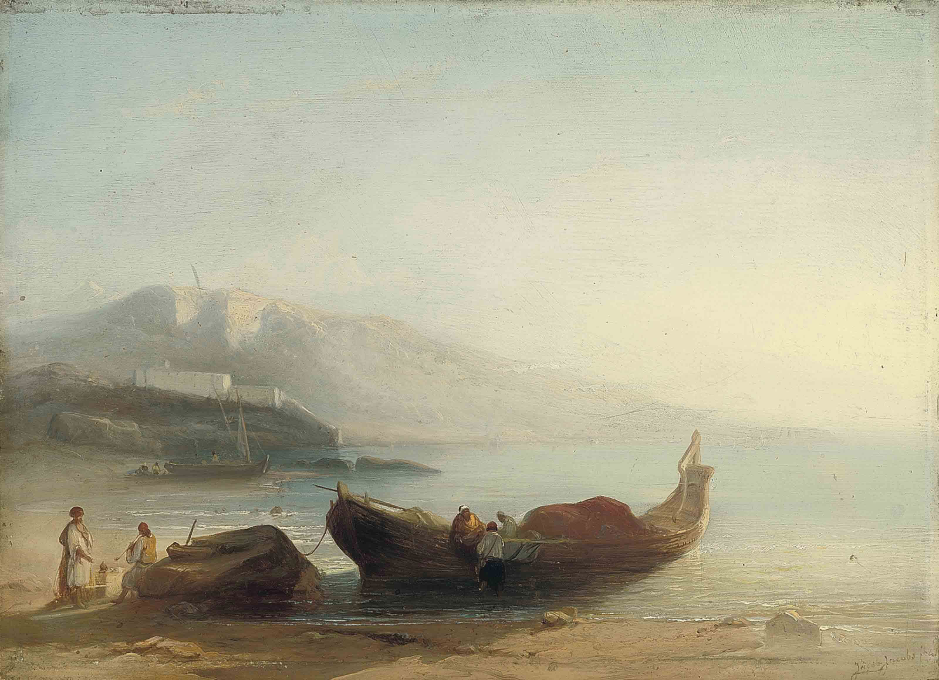 North African fishermen on the shore