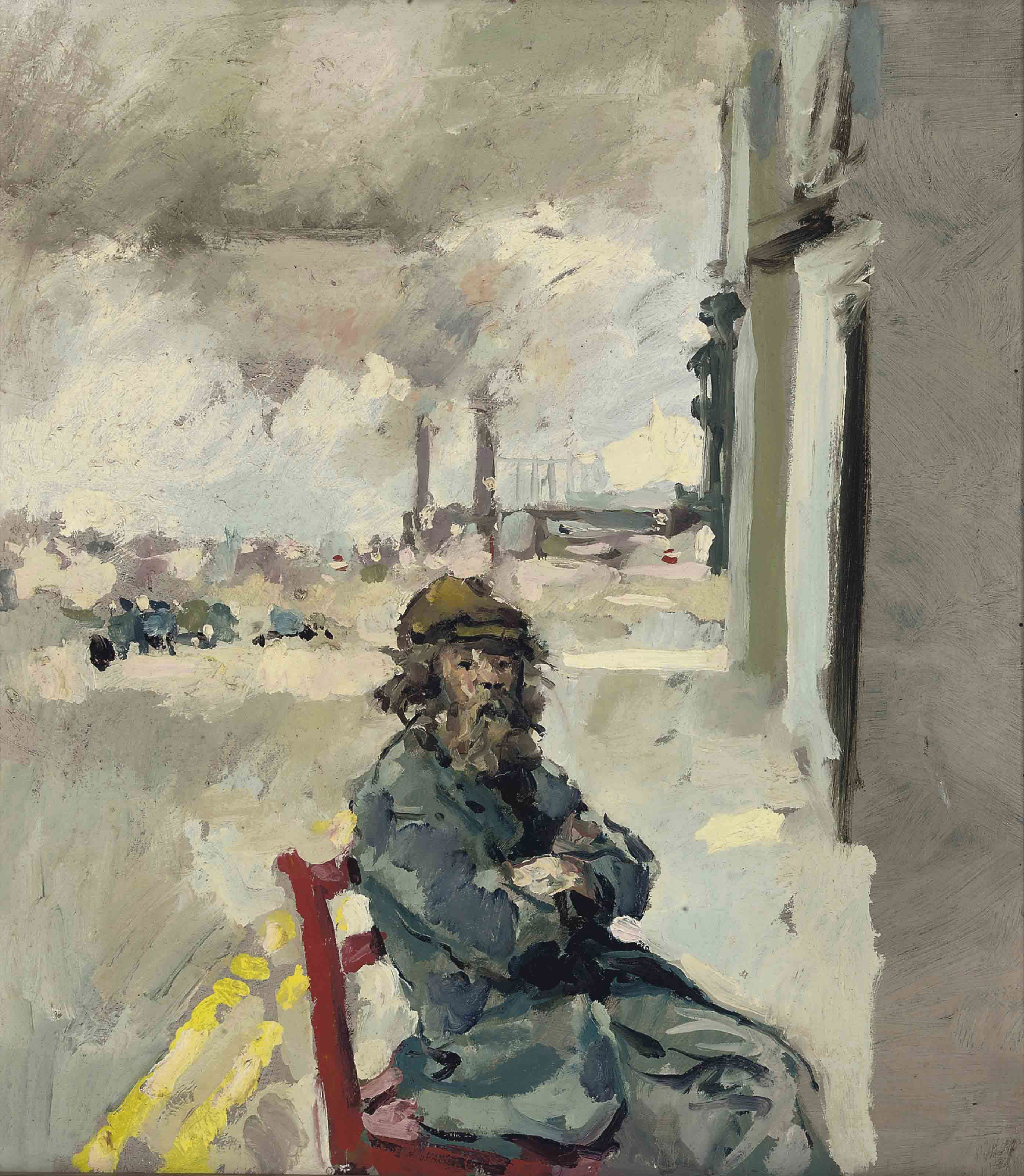 Diogenes seated outside the artist's studio