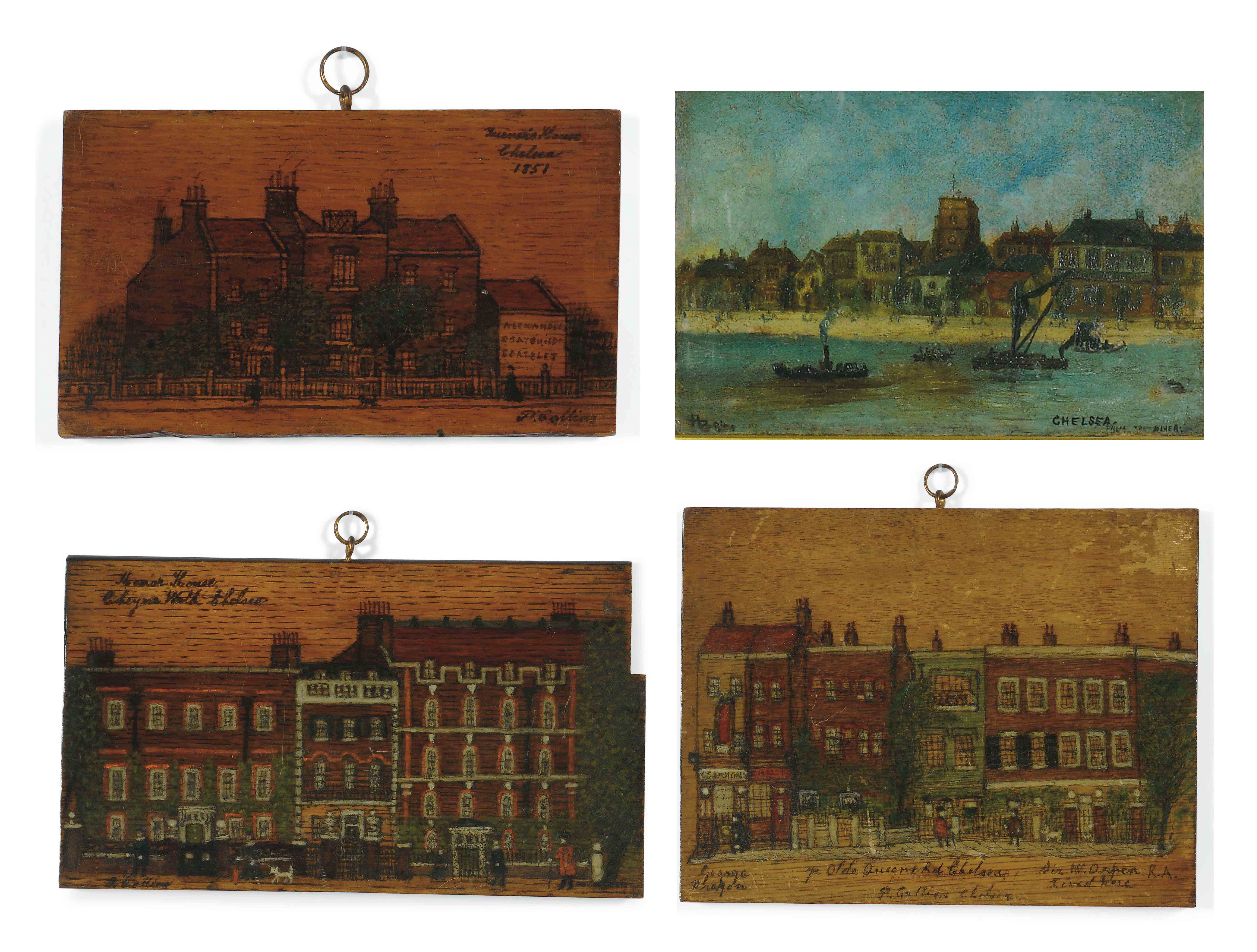 P. Collins, 19th Century | Four architectural views of Chelsea ...