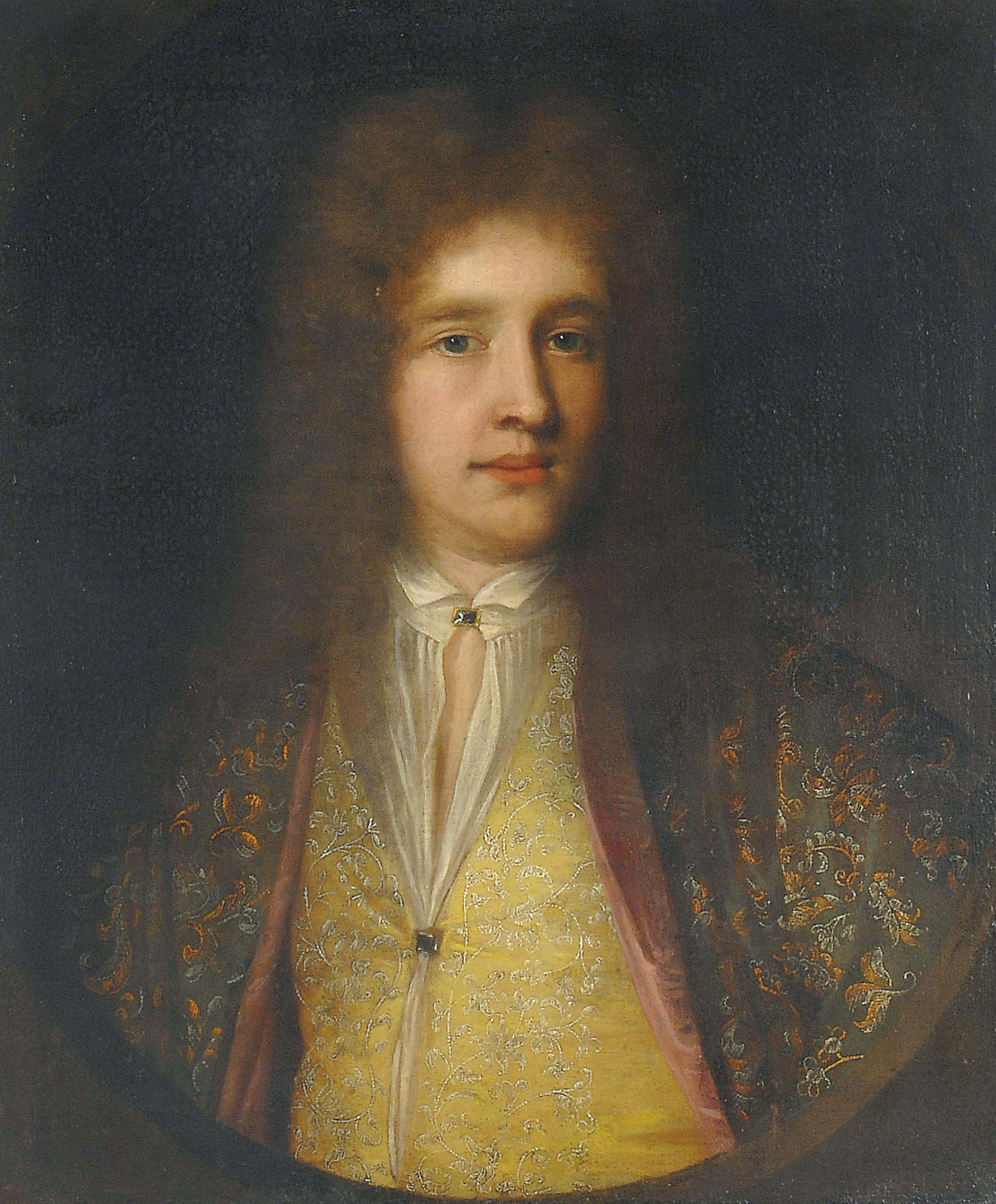 Portrait of a gentleman, bust-length, in a green coat and yellow waistcoat, both with floral embroidery, in a feigned oval