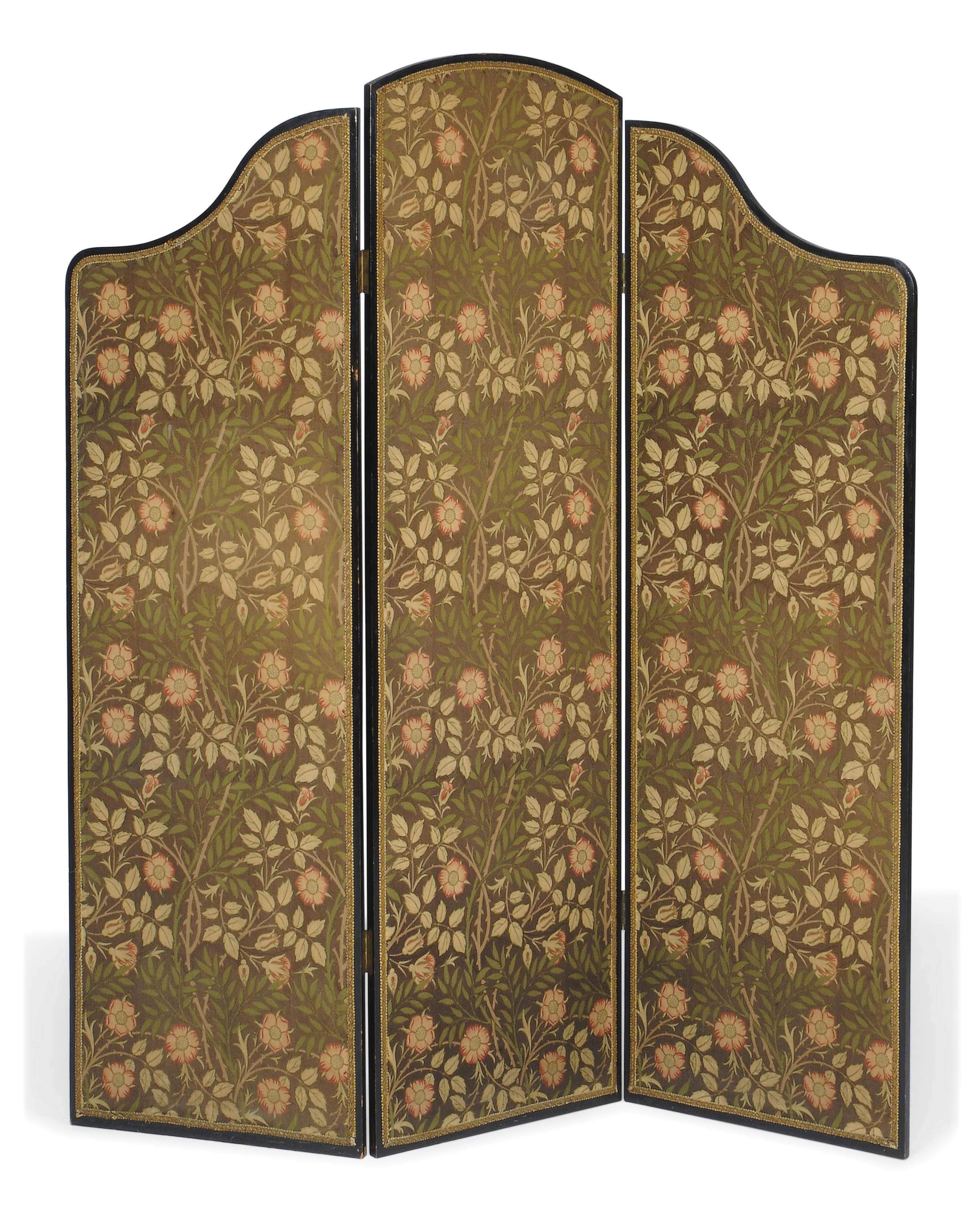 A LATE VICTORIAN EBONISED THREE-LEAF SCREEN