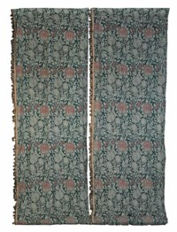 A PAIR OF WOOL CURTAINS AND A CURTAIN PANEL