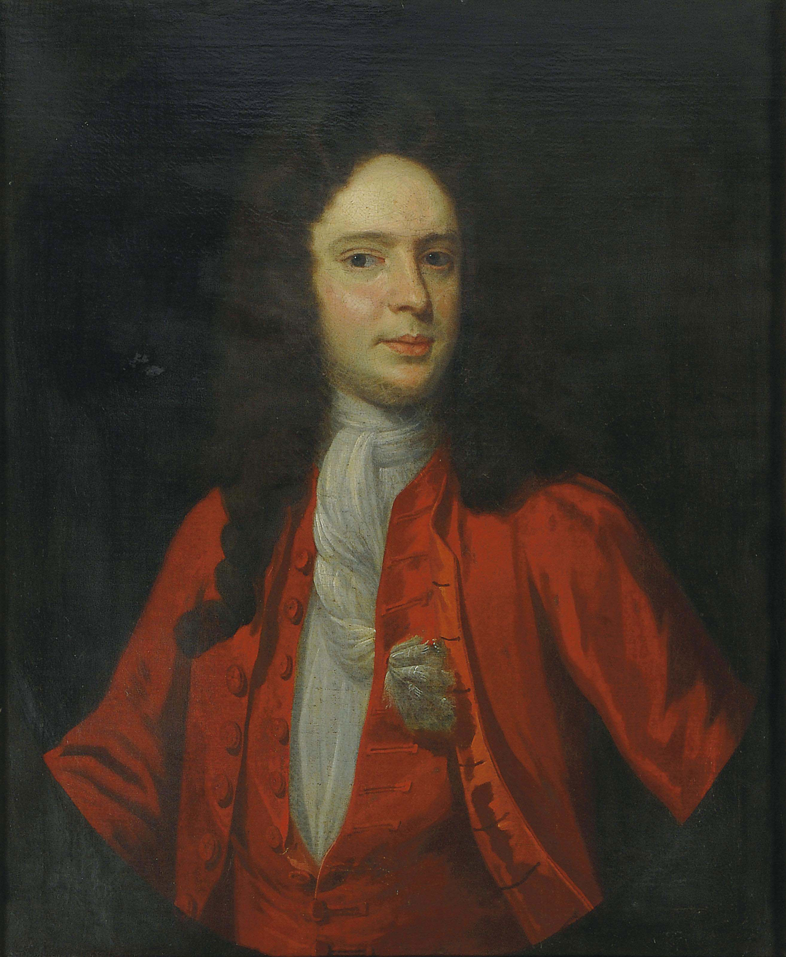 Portrait of a gentleman, half-length, in a red coat and a white cravat