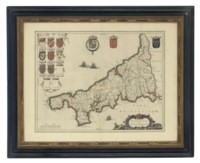 [BLAEU, WILLEM] Cornubia sive Cornwallia, [Amserdam: c.1640]. Handcoloured engraved map of Cornwall, coats-of-arms, galleons (lightly browned, creases, later colour), 455 x 585mm., framed and glazed.