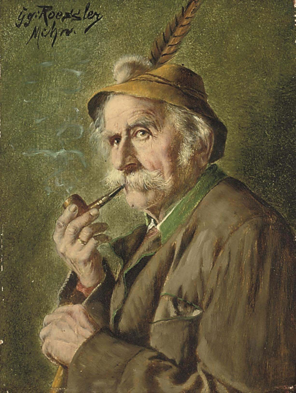 Bavarian figure smoking a pipe
