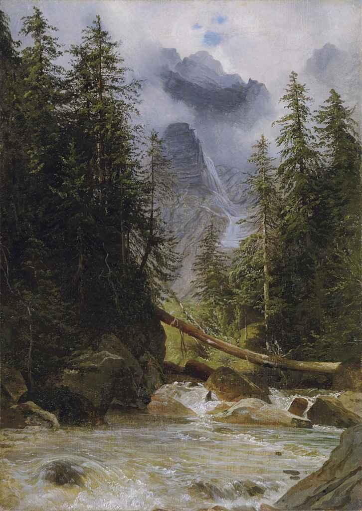 Torrent de montagne bordé de sapins, 1836-42