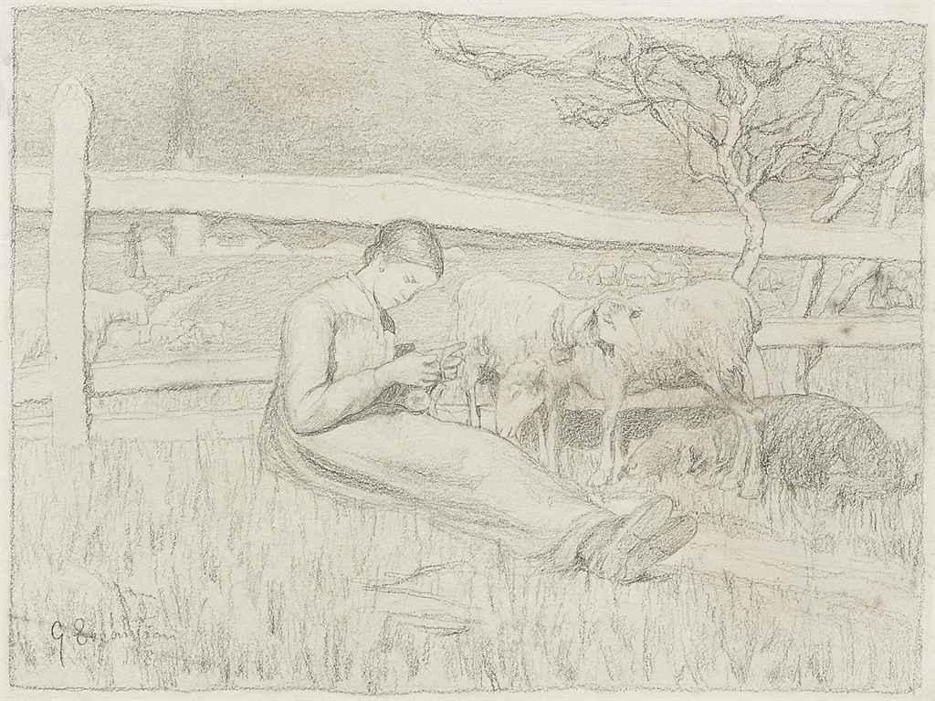 Ragazza che fa la calza (Strickendes Mädchen), 1888