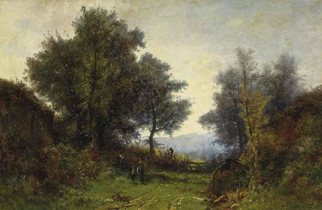 Drei Kinder auf Feldweg