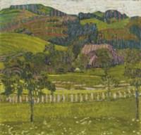 Sommerlandschaft I, Landschaft mit Bäumen und Hügeln, 1905