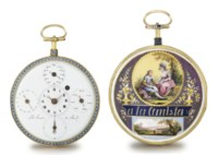 Terrot & Fazy. A fine, large and attractive 18K gold, enamel and paste-set openface calendar watch