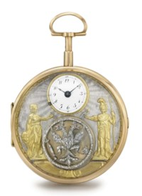 Swiss. A fine, rare and unusual 18K gold openface quarter repeating cylinder watch with two jaquemarts, diamond-set Russian Imperial double-headed eagle and presentation box