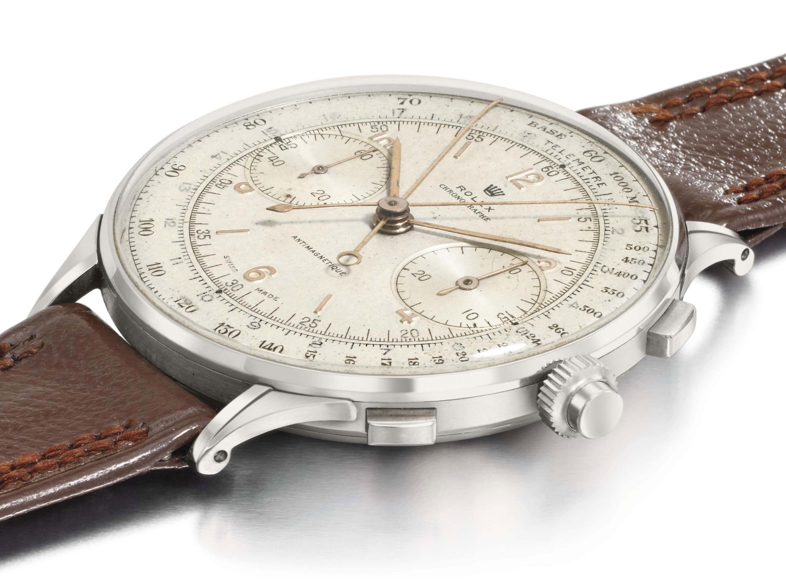 Rolex. An extraordinarily rare, oversized stainless steel split seconds chronograph wristwatch