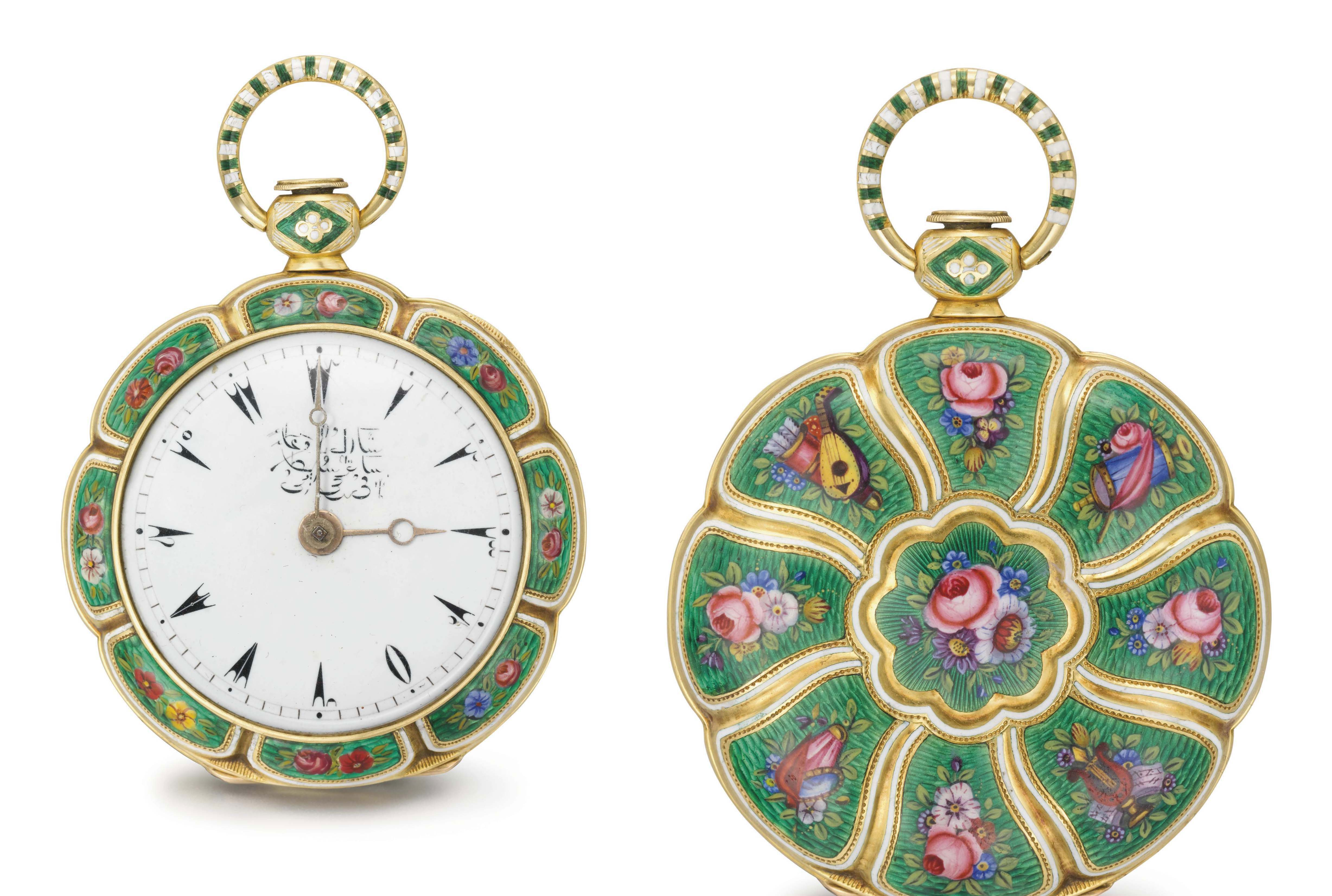 Le Roy. A fine, rare and attractive 18K gold and enamel openface verge watch, made for the Turkish market