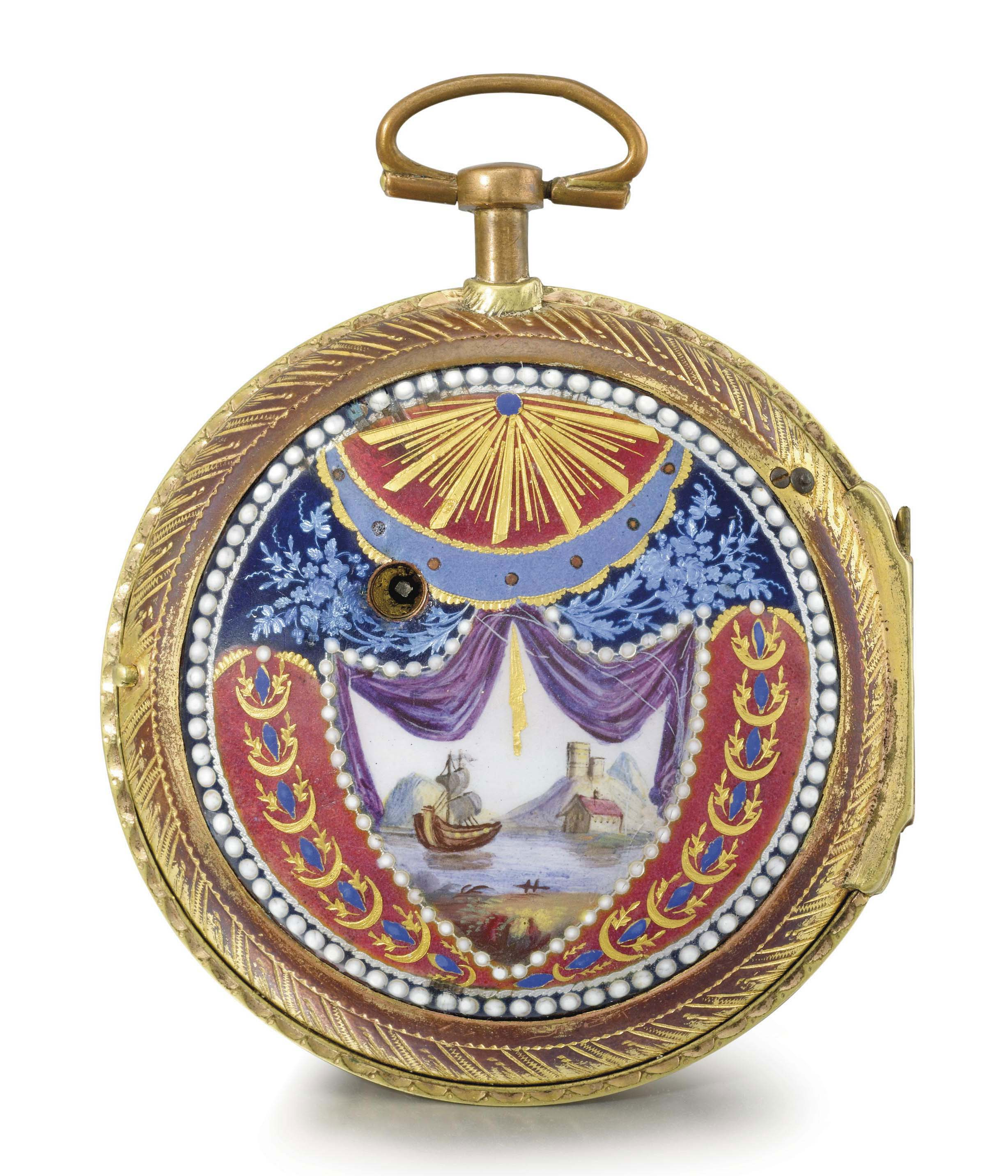 Le Roy. A rare, large and attractive gilt metal and enamel openface verge watch, made for the Turkish market