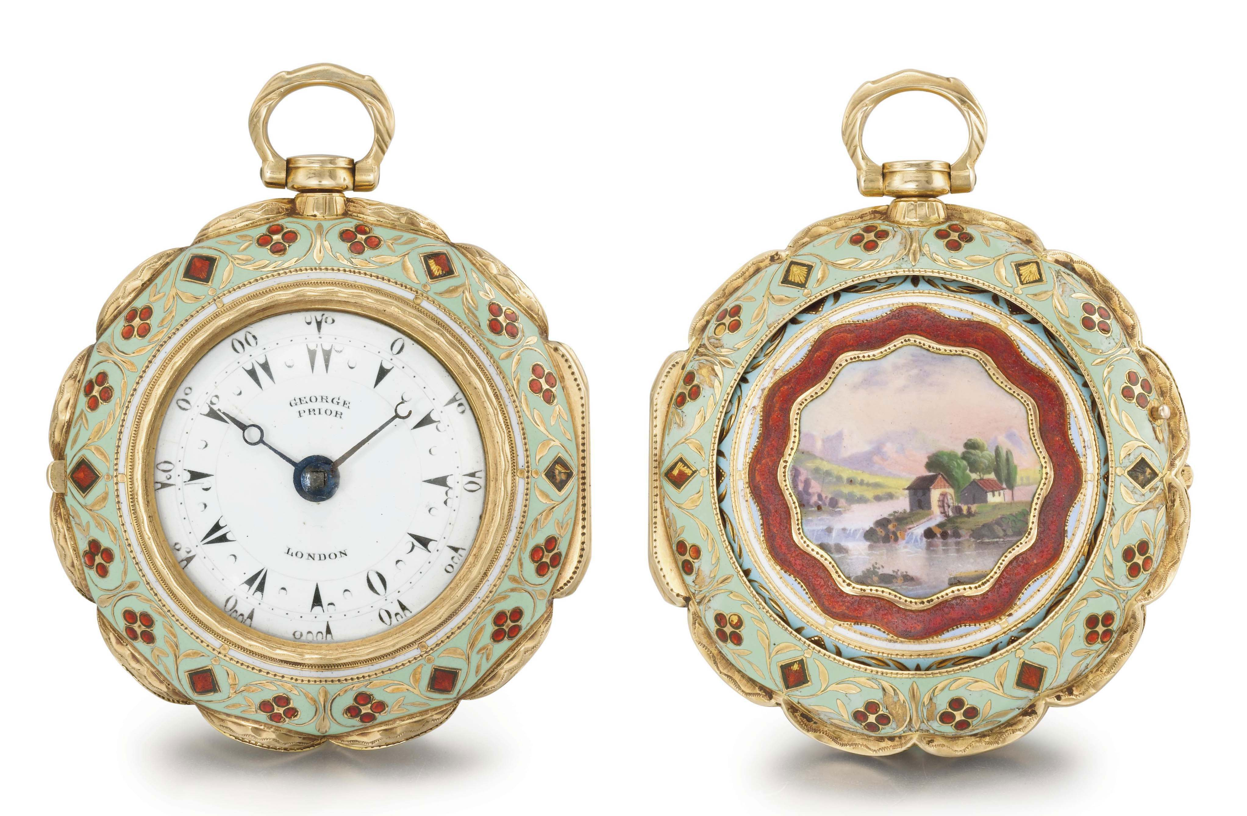 George Prior. A fine and small 18K gold and enamel triple case verge watch, made for the Turkish market