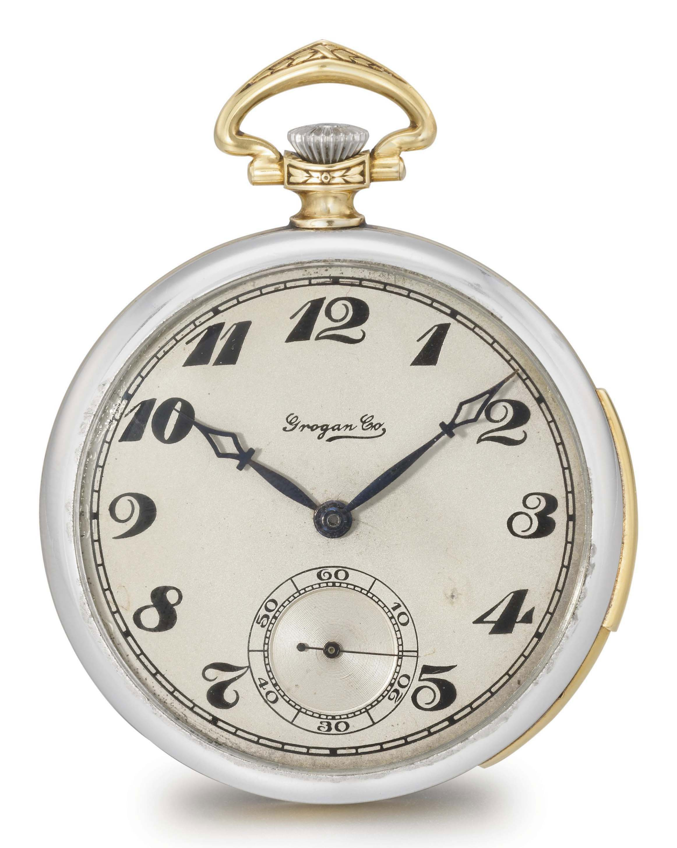 C.H. Meylan made for Grogan Co. A fine platinum and 18K gold Art Deco openface minute repeating dress watch