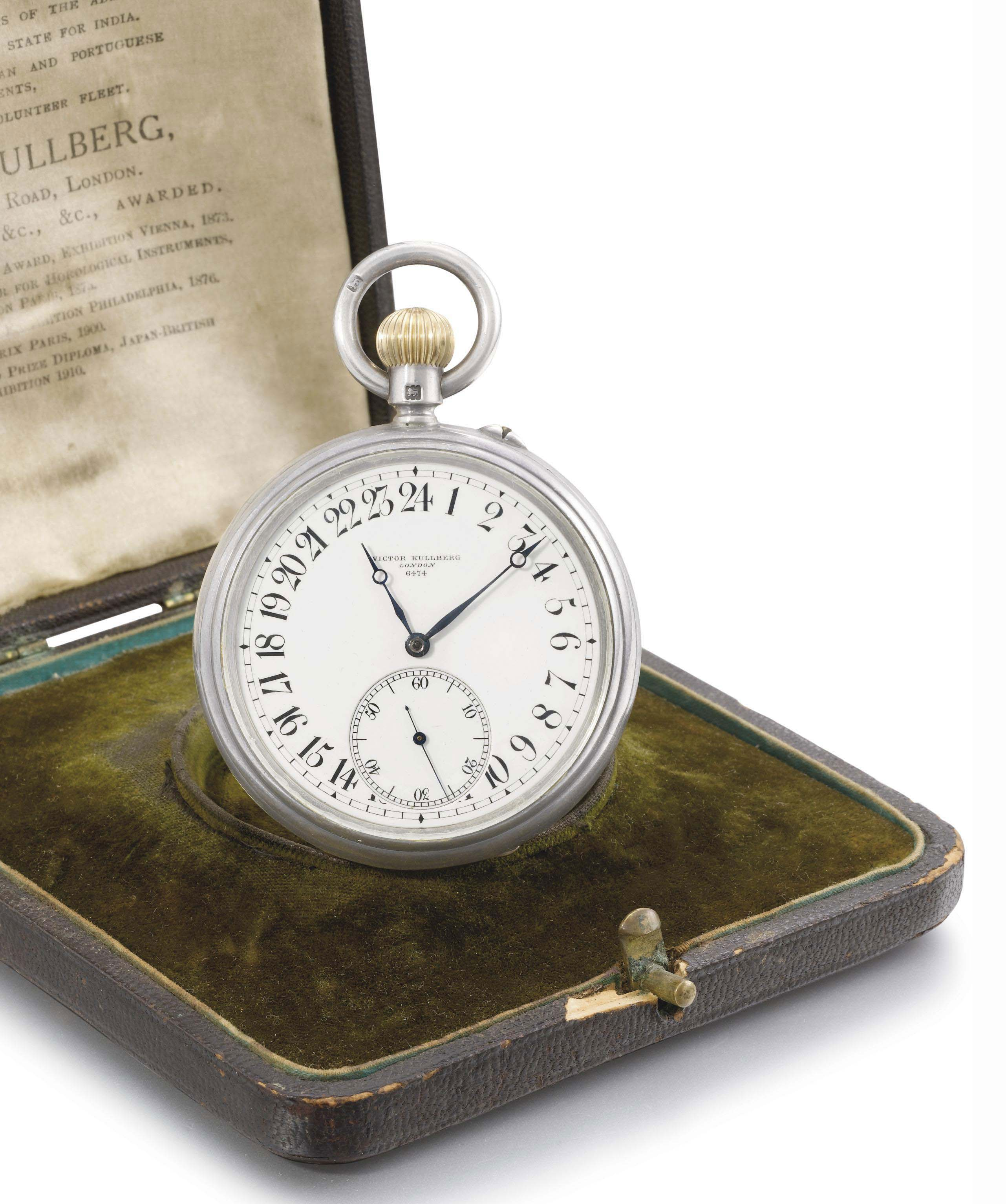 Kullberg. An unusual silver openface keyless lever watch with 52 1/2 minute karrusel, 24 hour dial and box