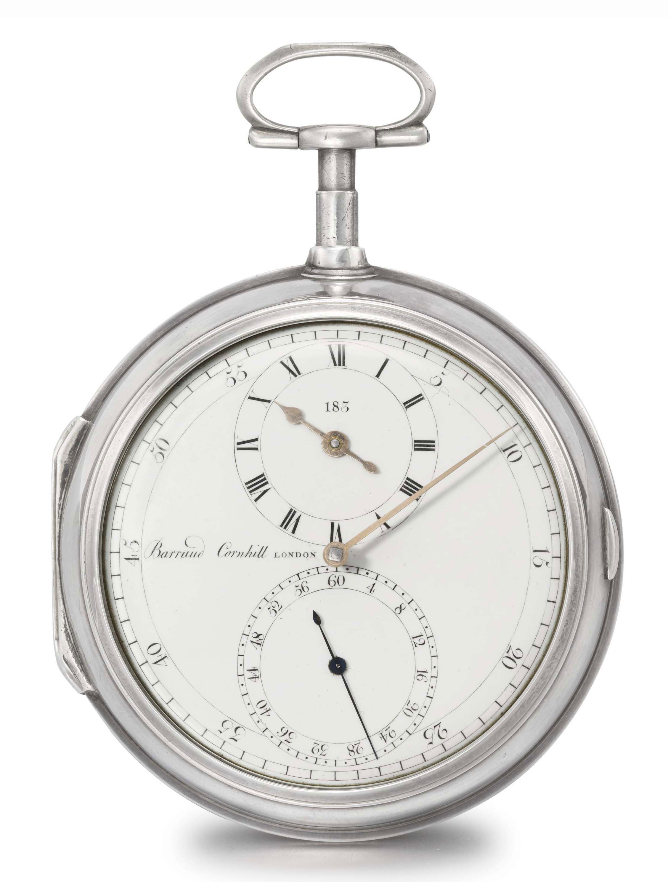 Barraud. A rare silver pair case openface pocket chronometer with Arnold's detent escapement and regulator dial