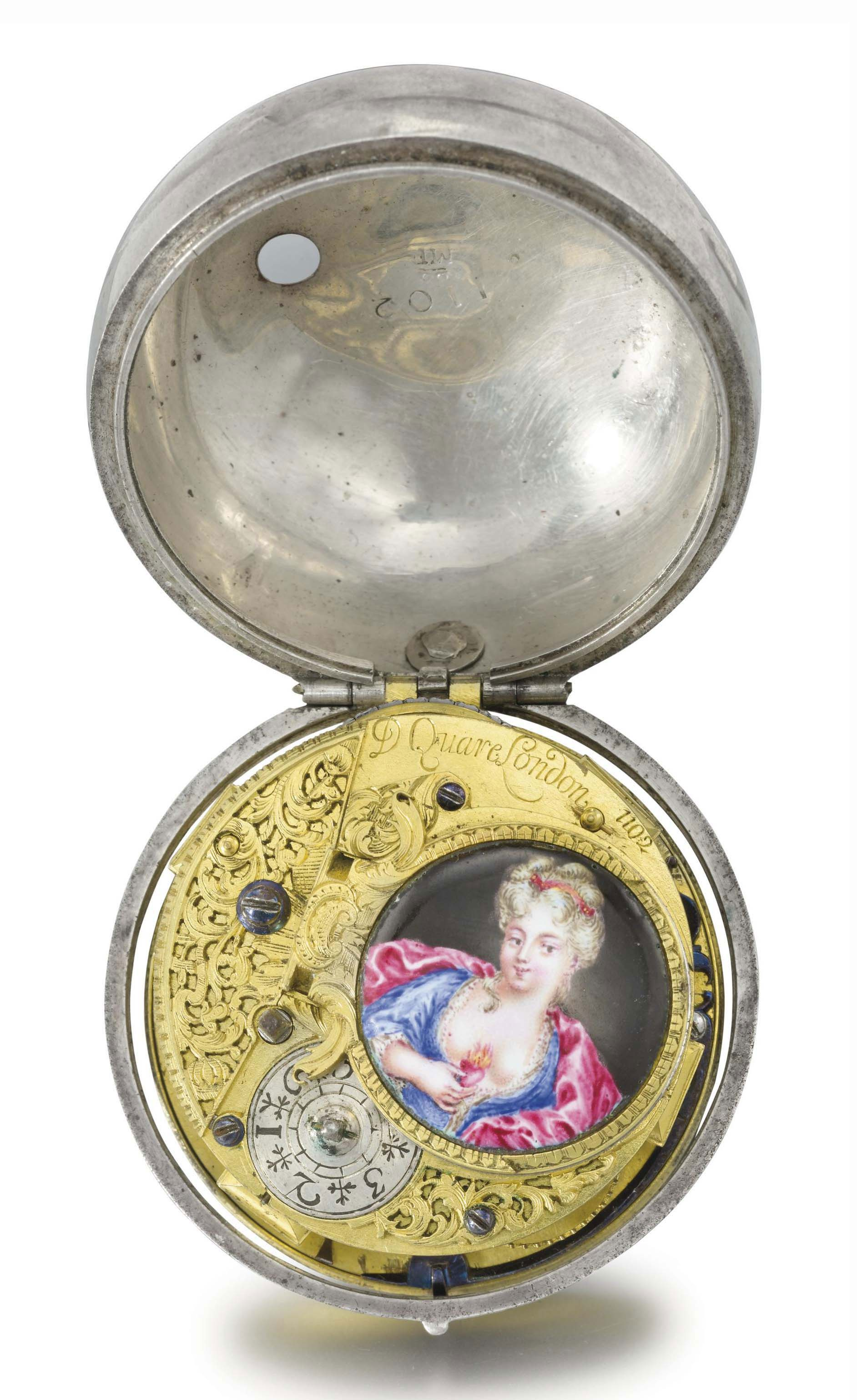 Quare. A rare silver openface verge watch with enamel miniature