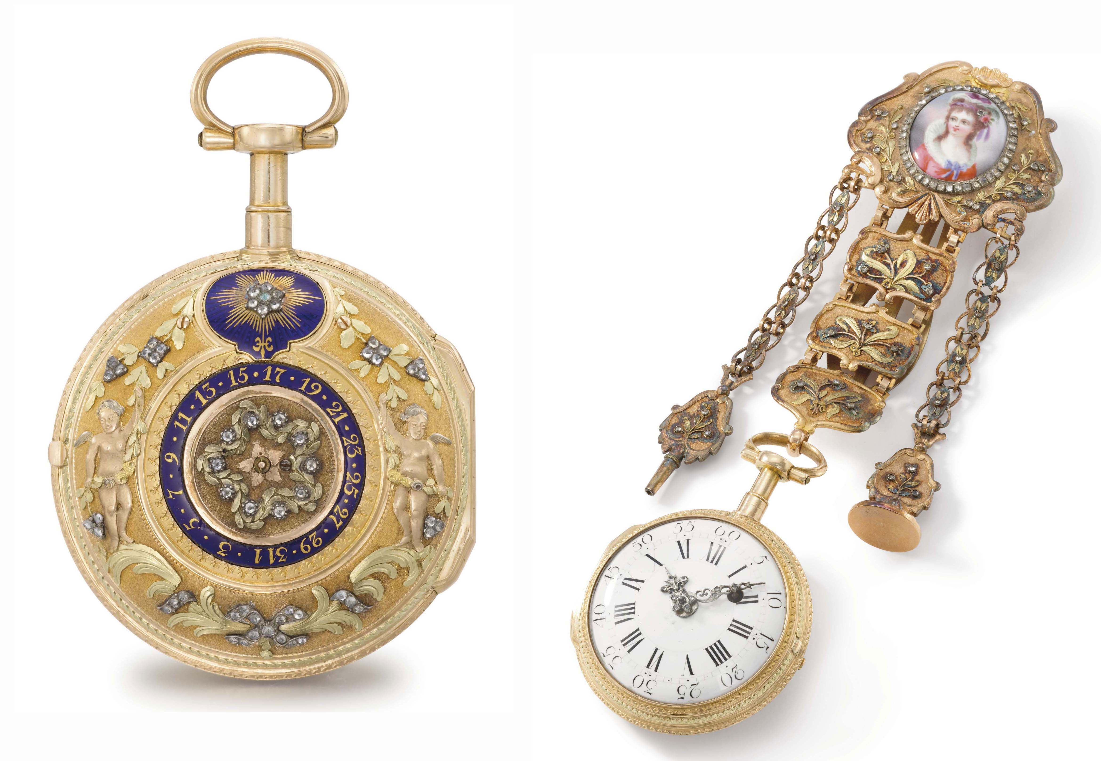 Esquivillon & Dechoudens. A highly rare and attractive 18K varicoloured gold, enamel and diamond-set double face verge watch with date and chatelaine