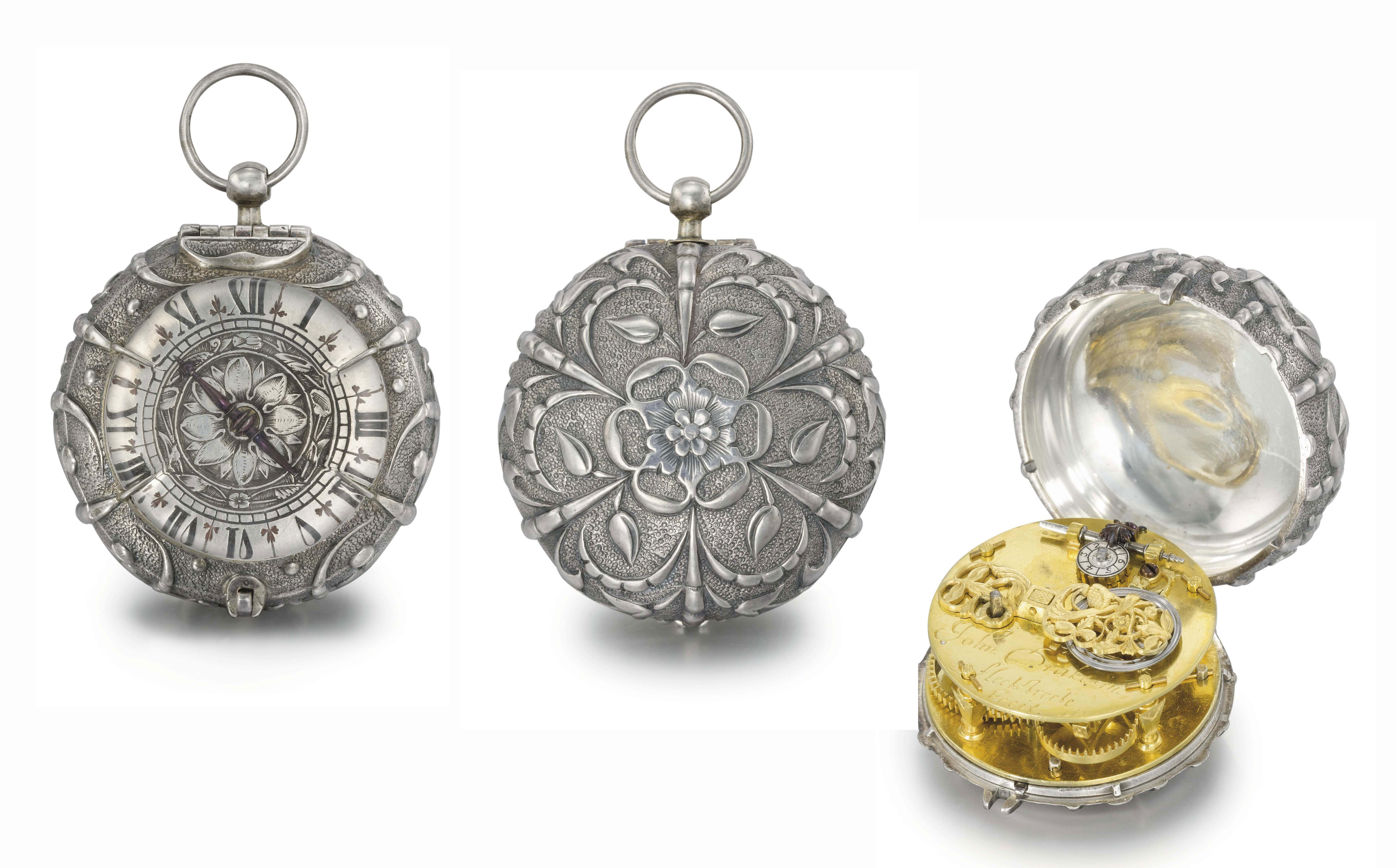 John Drake. A very rare and early silver pre-balance spring verge watch, the case in form of a seeded rose
