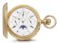 Louis Audemars, made for Breguet. A fine and rare 18K pink gold hunter case quarter repeating perpetual calendar keyless lever watch with moon phases, made for the Turkish Market