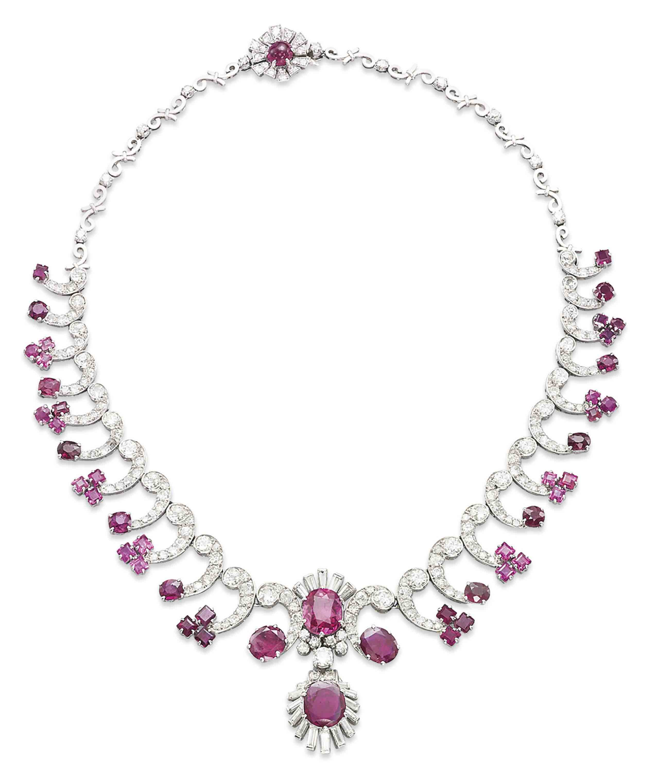 Pink Ruby Jewellery: A RUBY, PINK SAPPHIRE AND DIAMOND NECKLACE