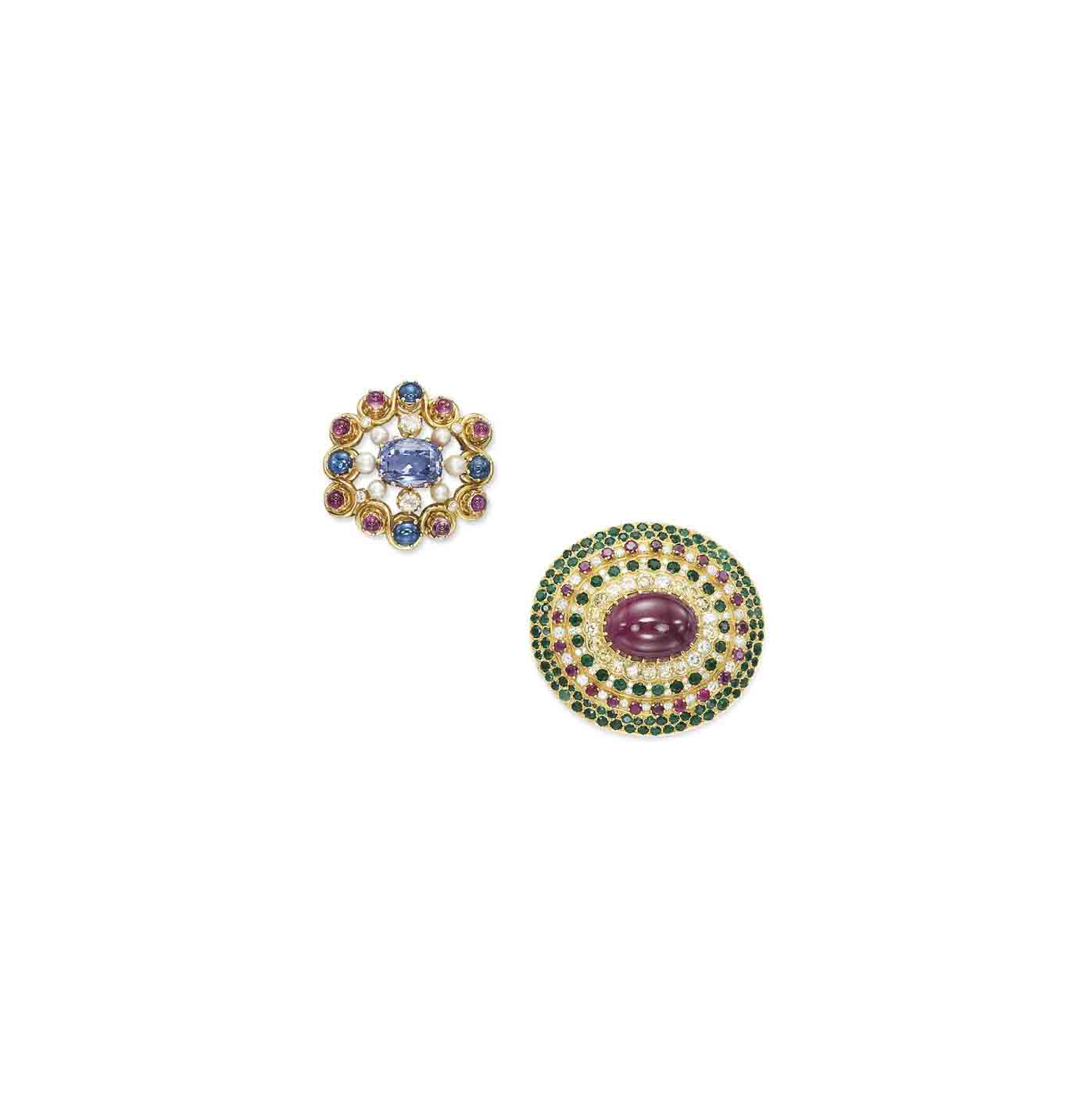 TWO MULTI-GEM AND DIAMOND BROOCHES