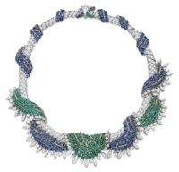 A SAPPHIRE, EMERALD AND DIAMOND NECKLACE, BY SCHLUMBERGER FOR TIFFANY