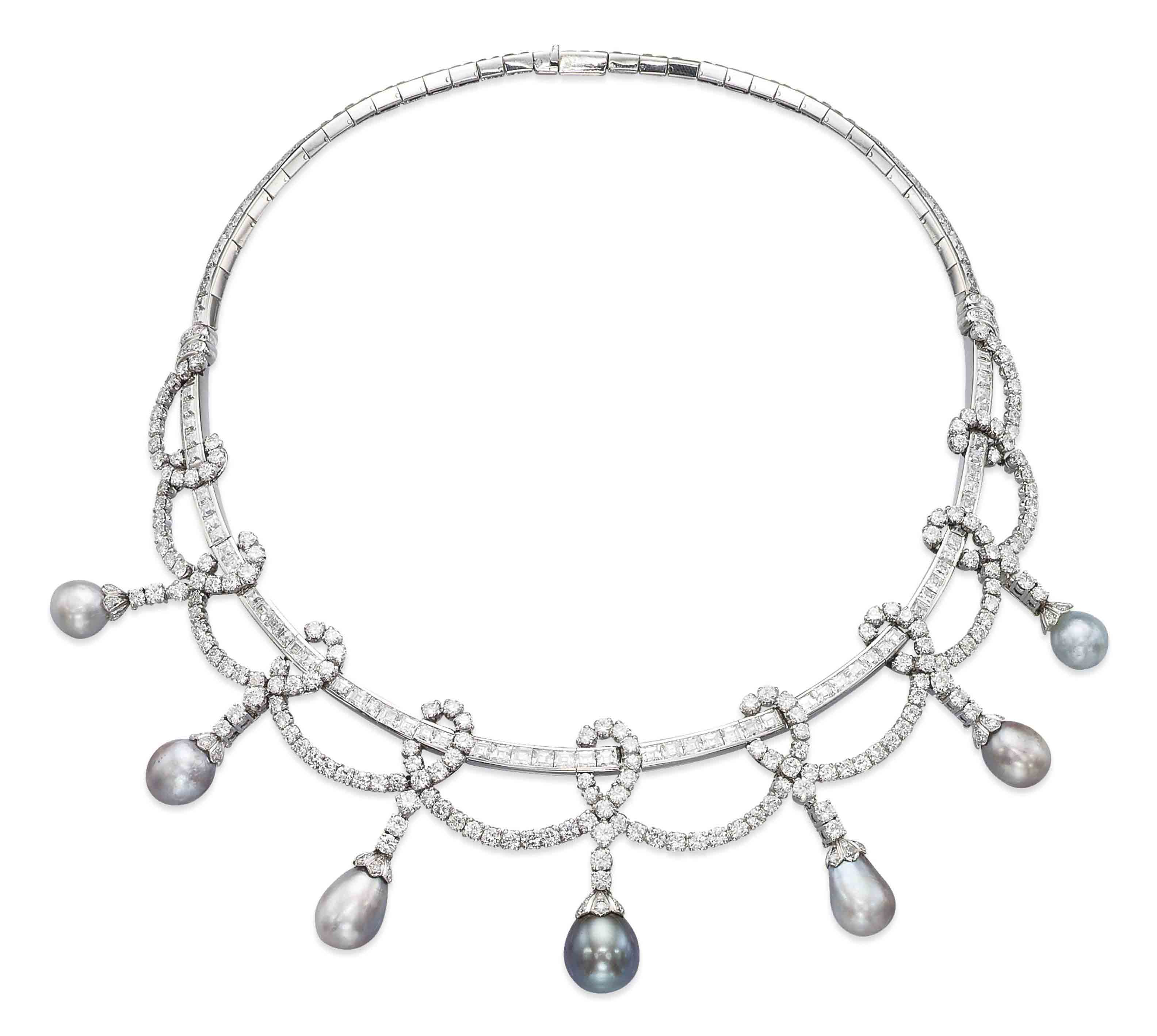A PEARL AND DIAMOND NECKLACE, BY KOCH