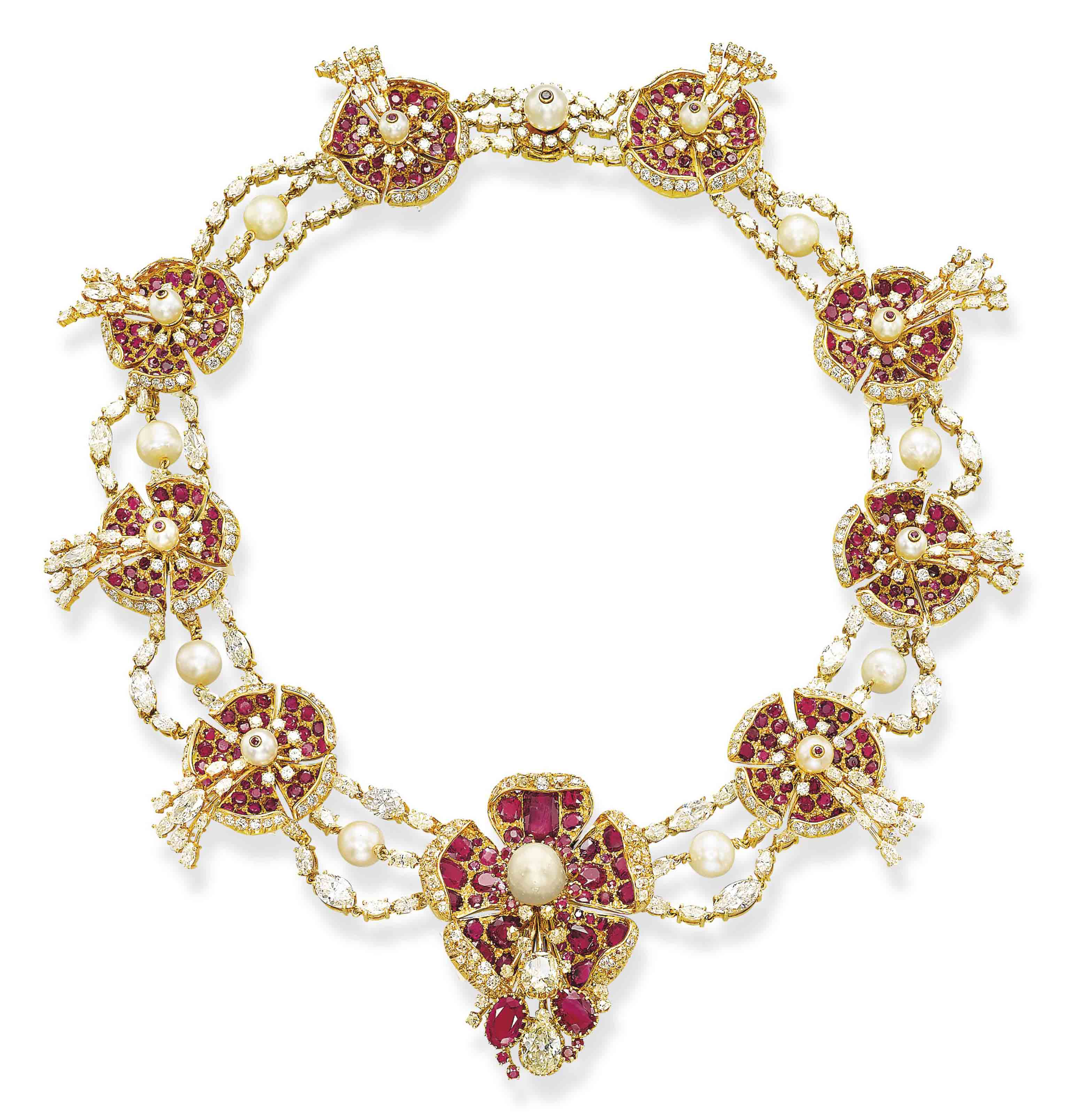 A RUBY, PEARL AND DIAMOND NECKLACE, BY LOMBARD