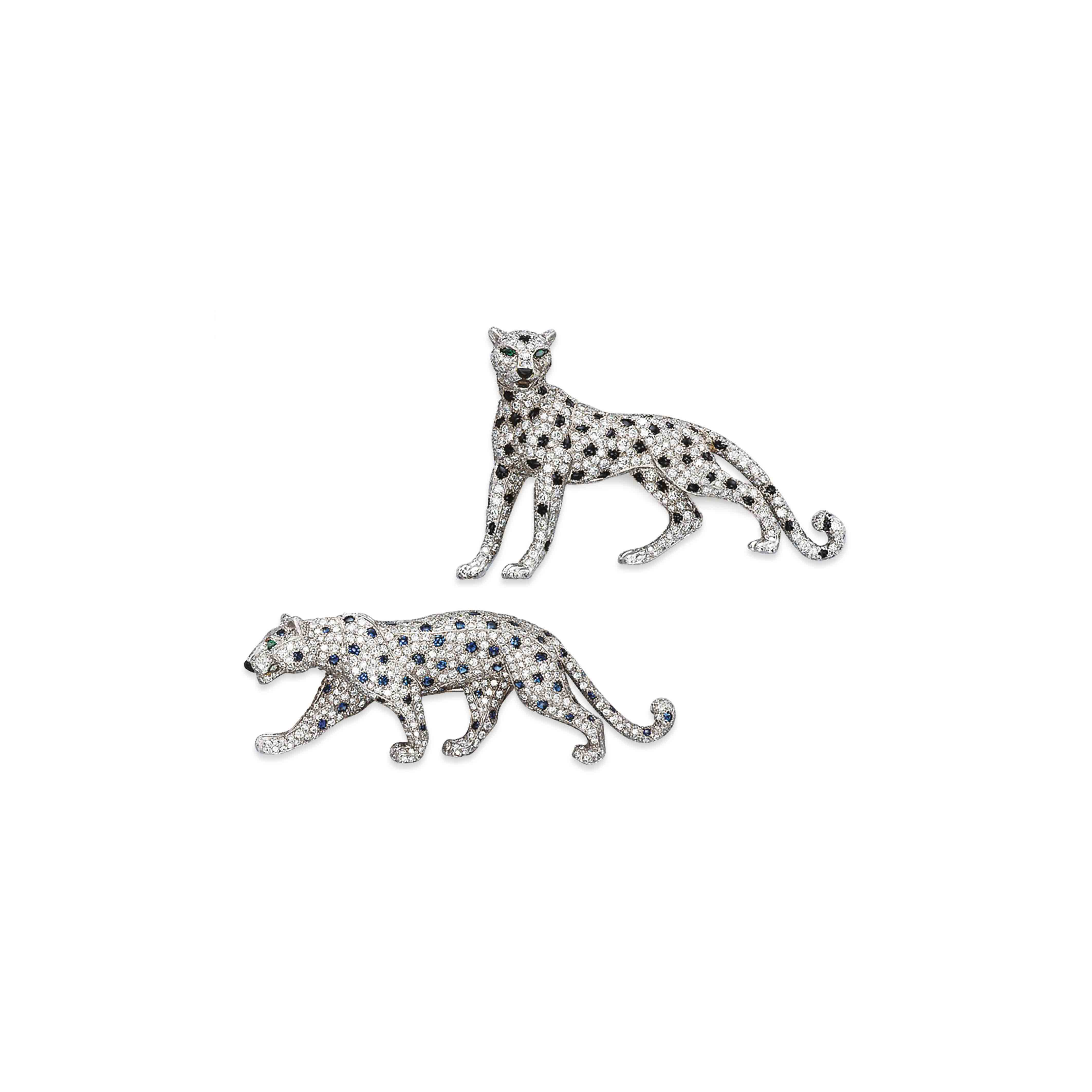 TWO GEM-SET AND DIAMOND PANTHER BROOCHES, BY CARTIER