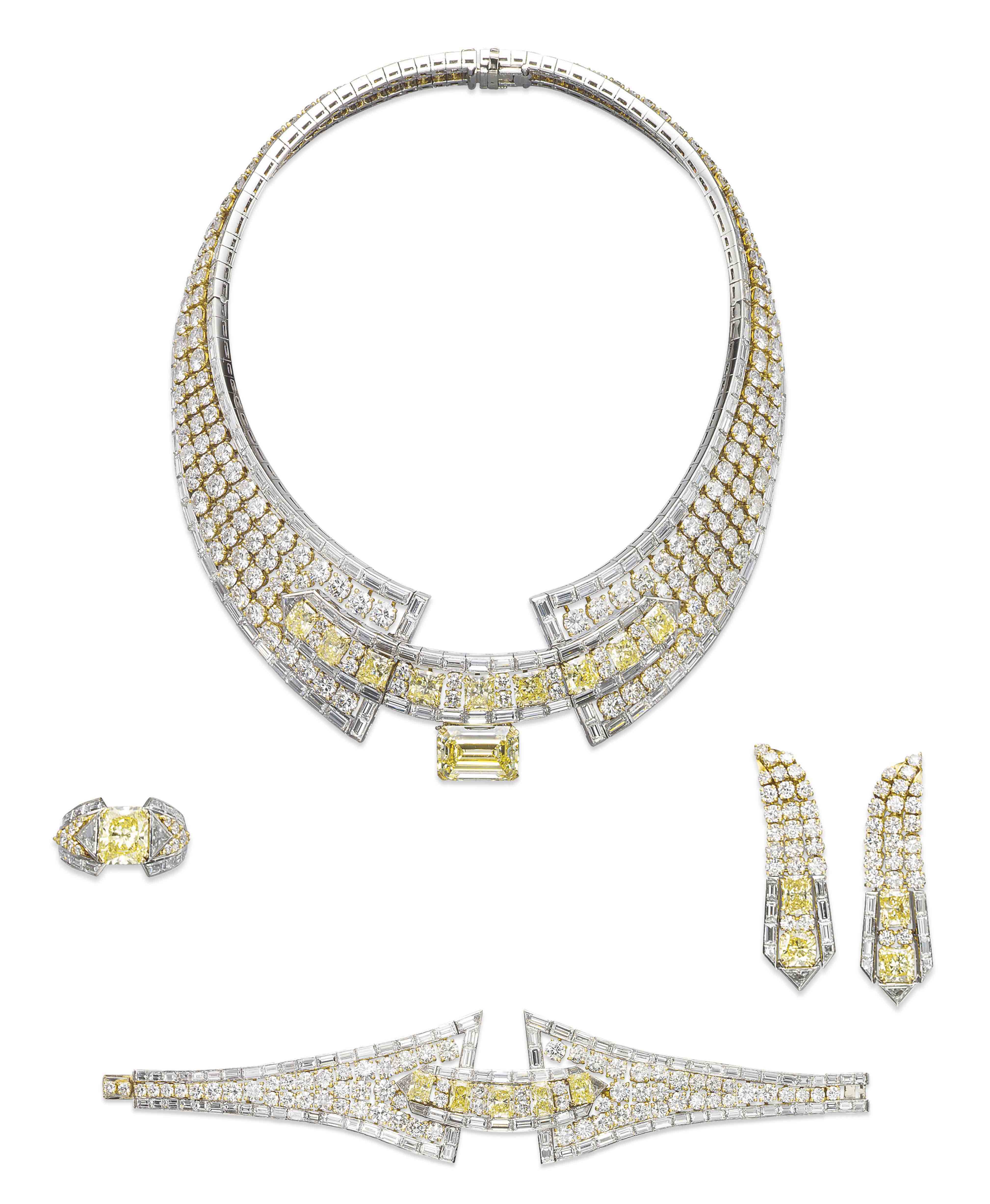 A COLOURED DIAMOND AND DIAMOND SUITE, BY MOUAWAD