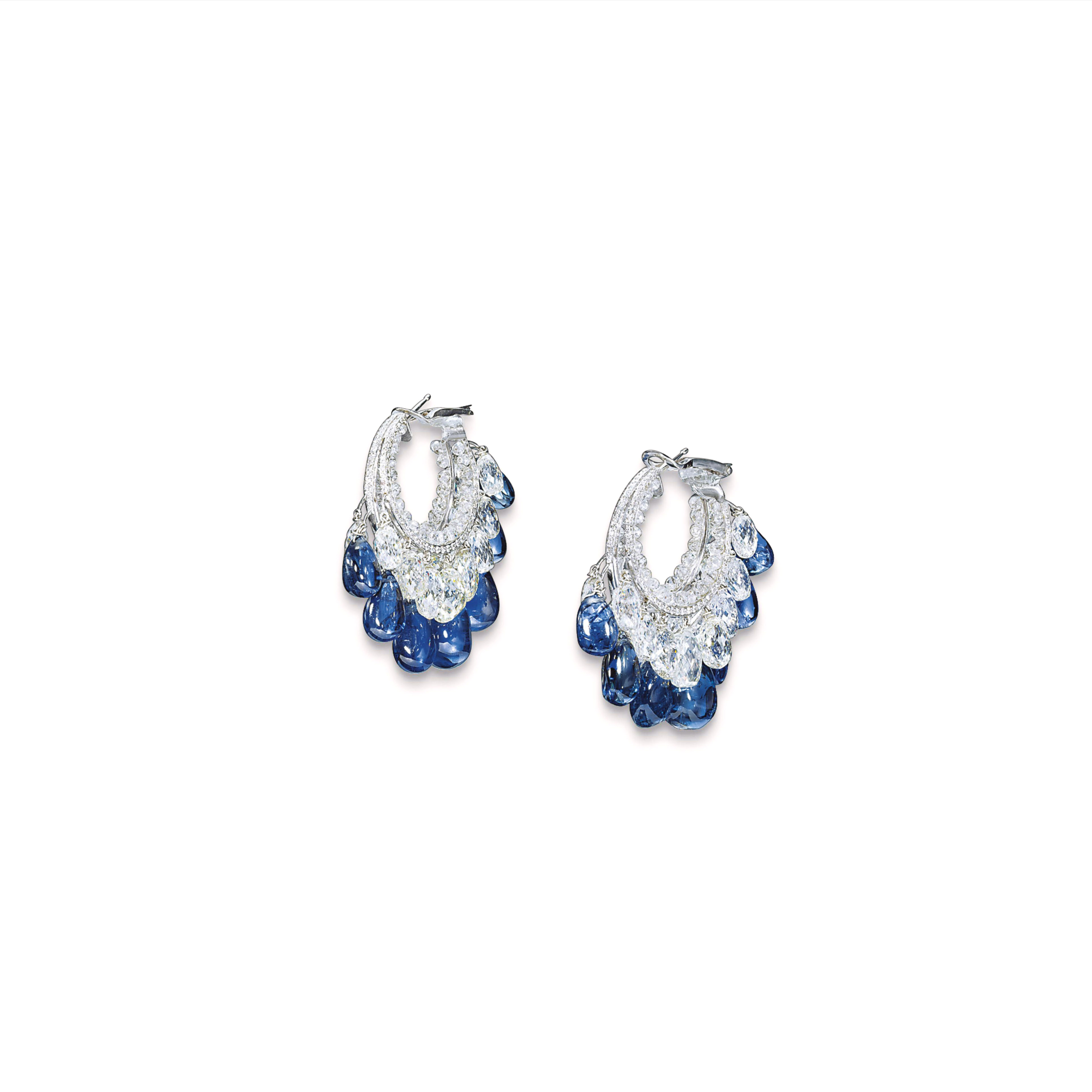 A PAIR OF SAPPHIRE AND DIAMOND EARRINGS, BY BHAGAT