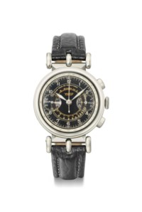 Tissot. A rare and attractive stainless steel chronograph wristwatch with black gloss dial, pulsation scale and unusual lugs