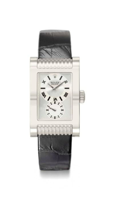 Rolex. An 18K white gold recta