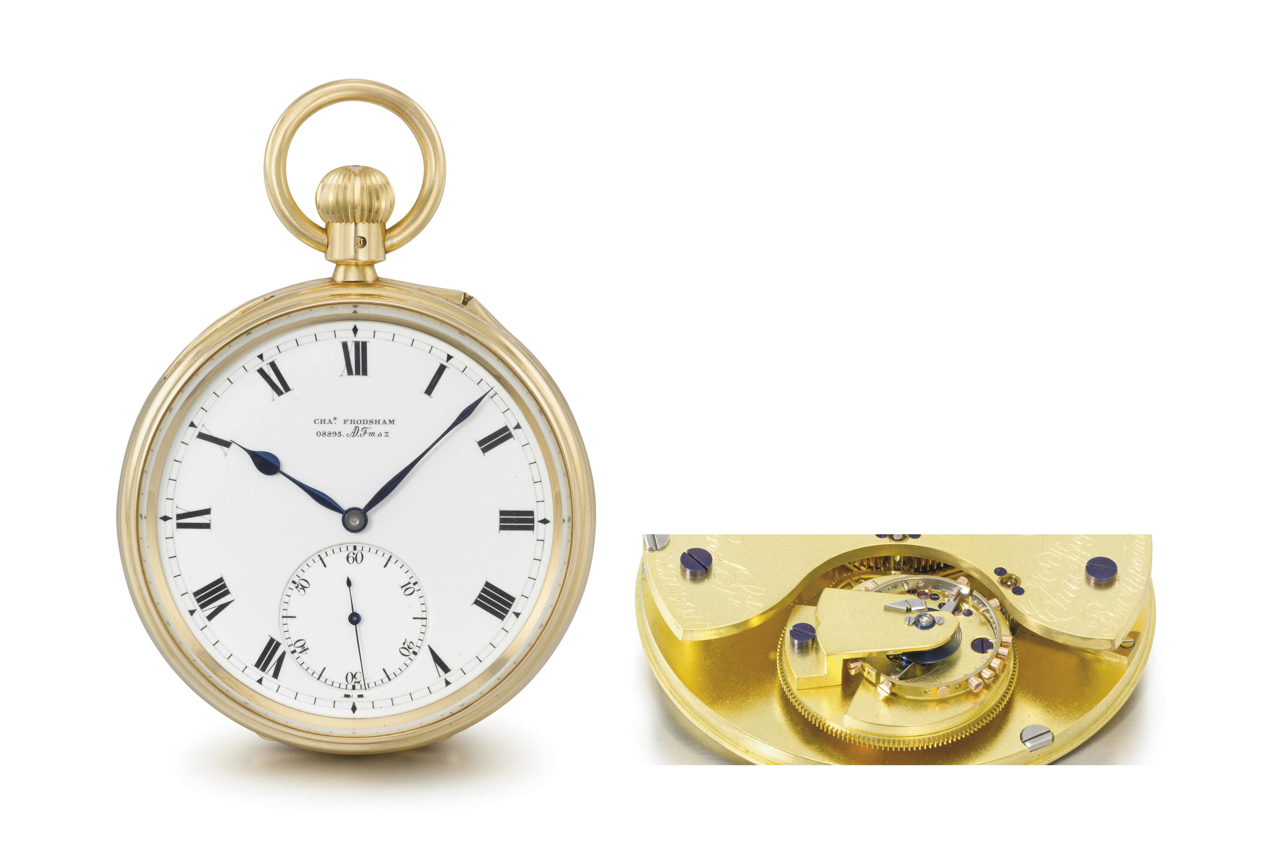 Charles Frodsham. A very fine, rare and important 18K gold openface keyless lever watch with Robert Benson North's patented twelve minute flying tourbillon