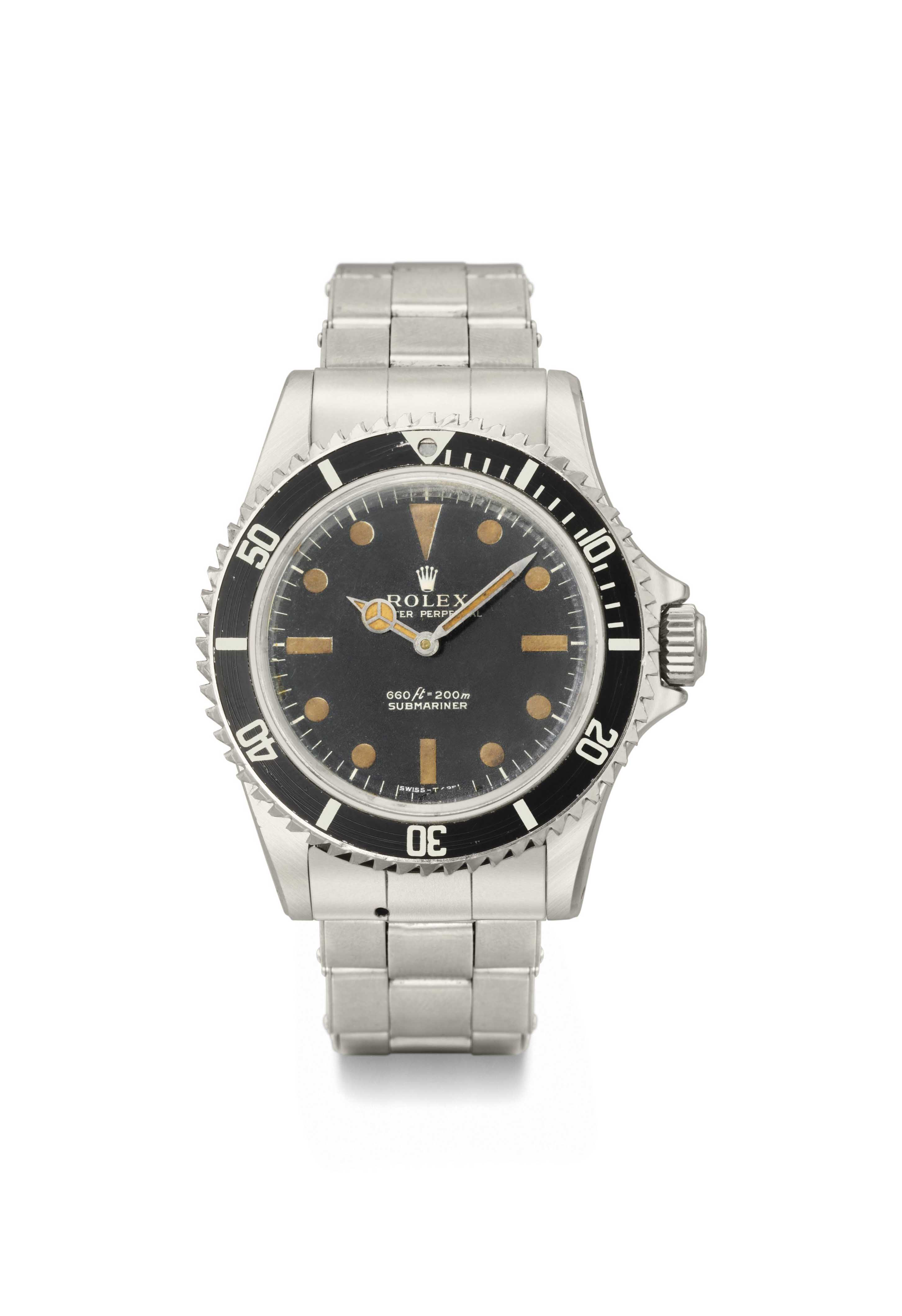 James Bond's specially adapted Rolex wristwatch converted from a stainless steel Rolex Oyster Perpetual Submariner wristwatch