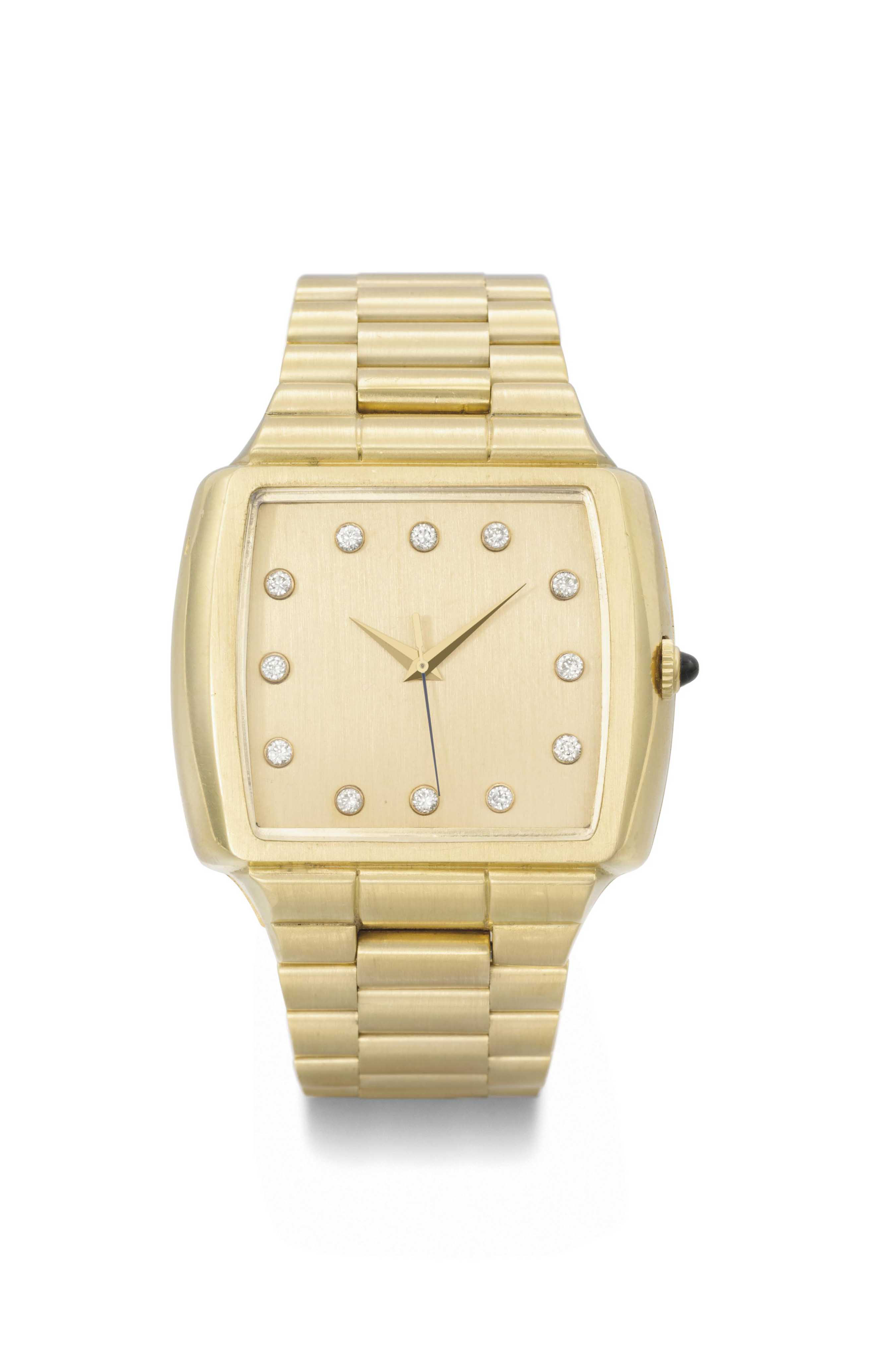 Pulsar. An unusual 18K gold cushion-shaped wristwatch with sweep centre seconds, diamond-set numerals and Gay Freres bracelet