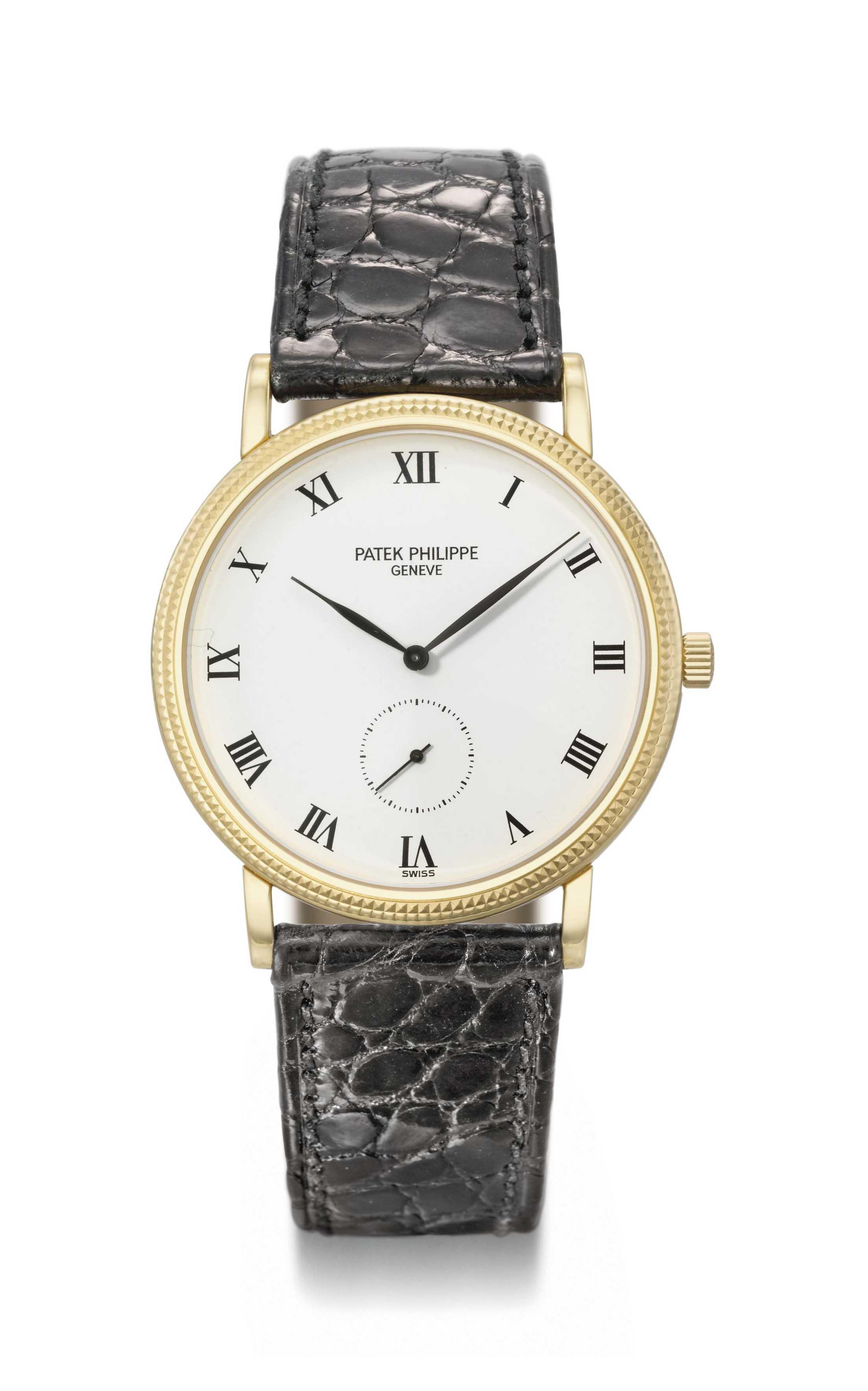 Patek philippe an 18k gold wristwatch signed patek philippe geneve calatrava model ref for Patek philippe geneve