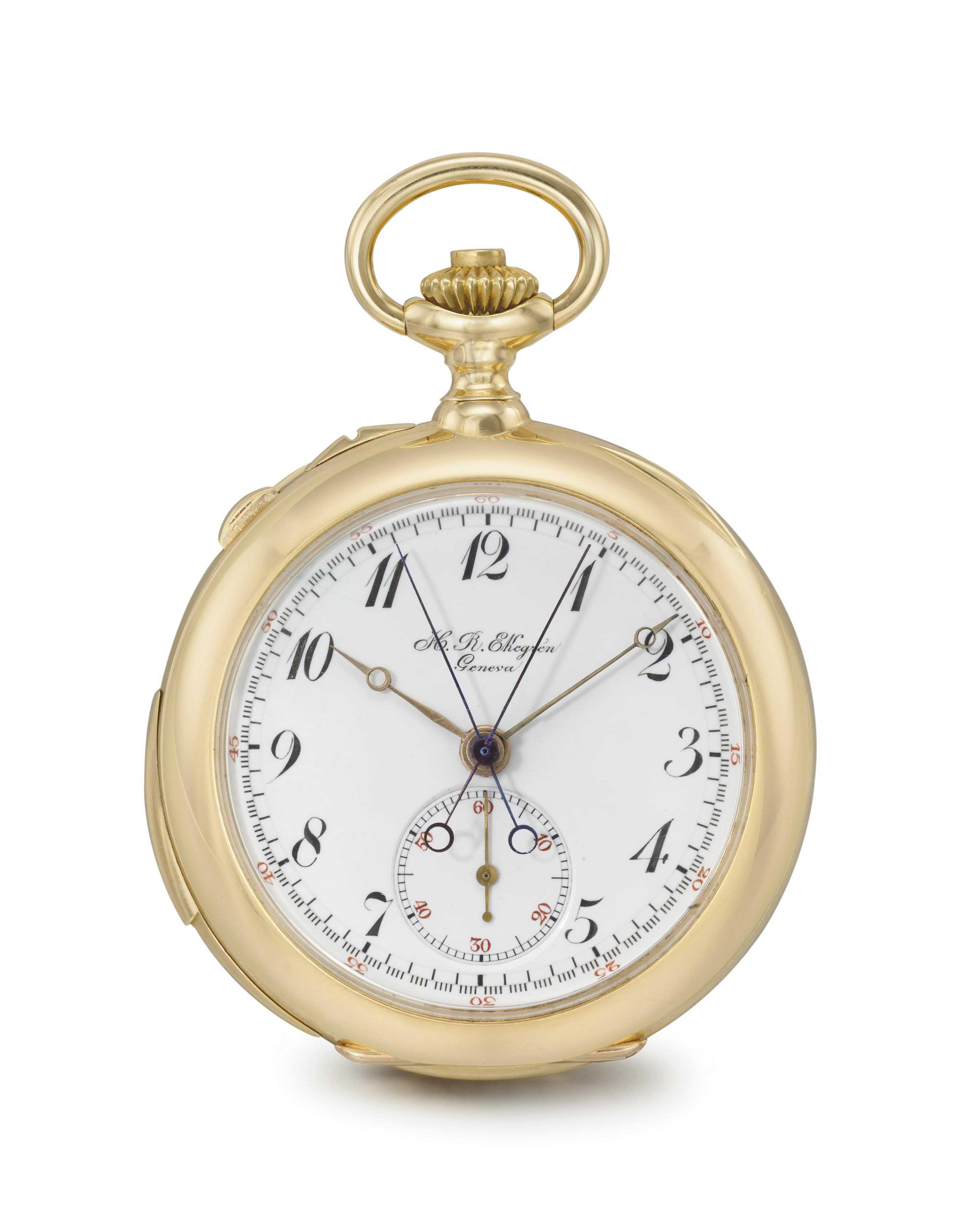 H.R. Ekegren. A fine 18K gold openface minute repeating split seconds chronograph keyless lever watch