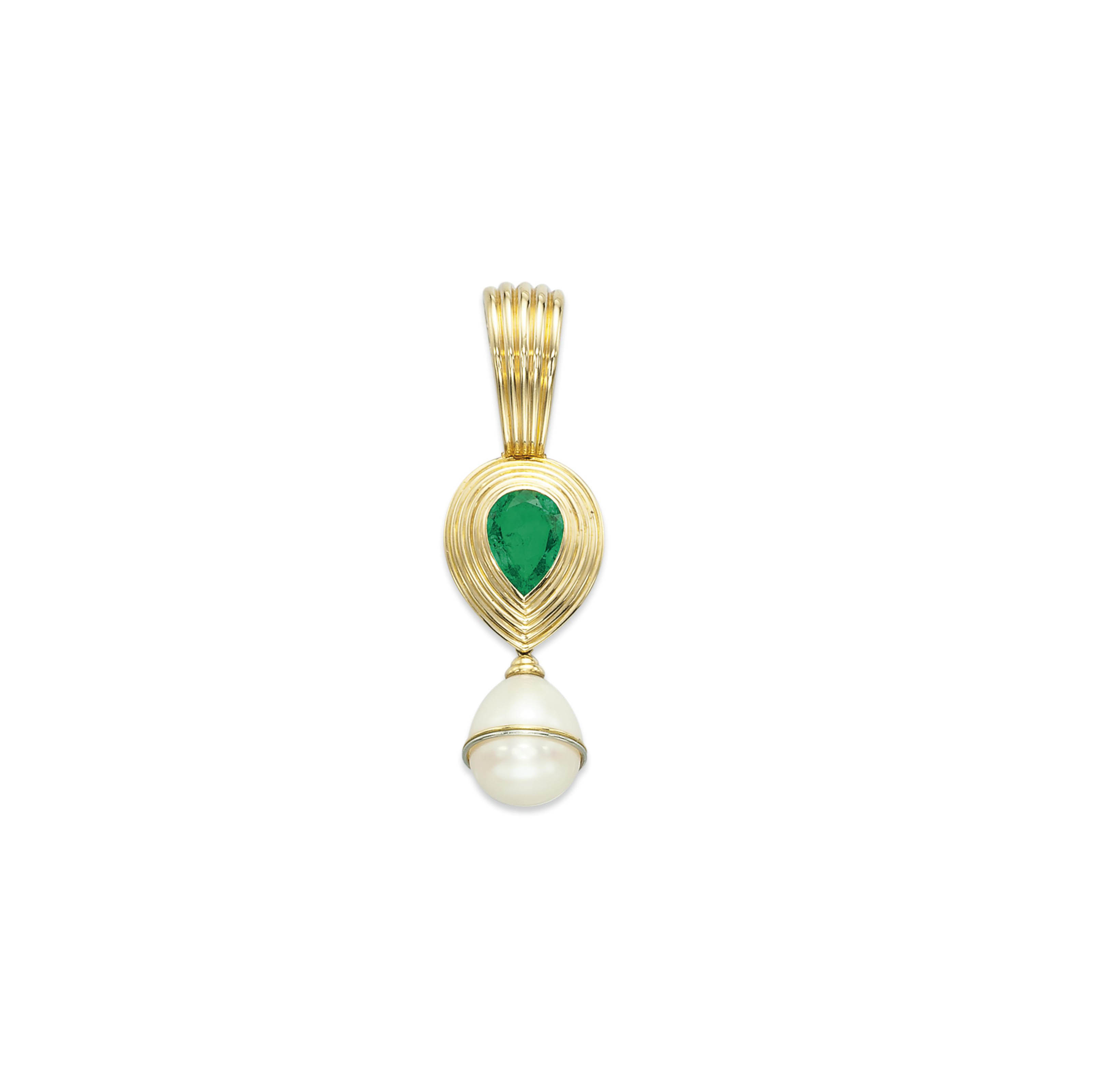 AN EMERALD AND CULTURED PEARL PENDANT, BY POIRAY