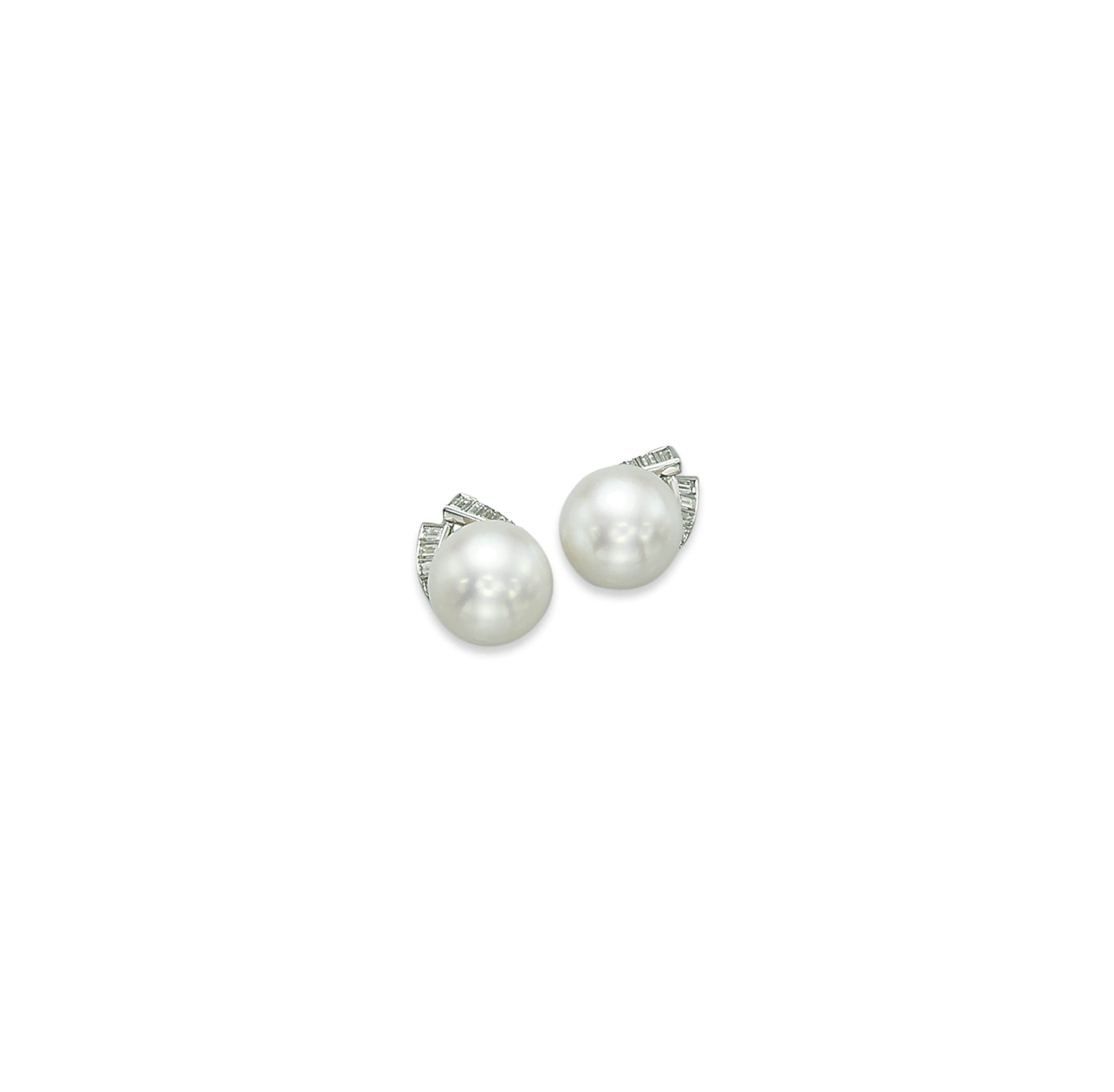 A PAIR OF CULTURED PEARL AND DIAMOND EAR CLIPS, BY MEISTER