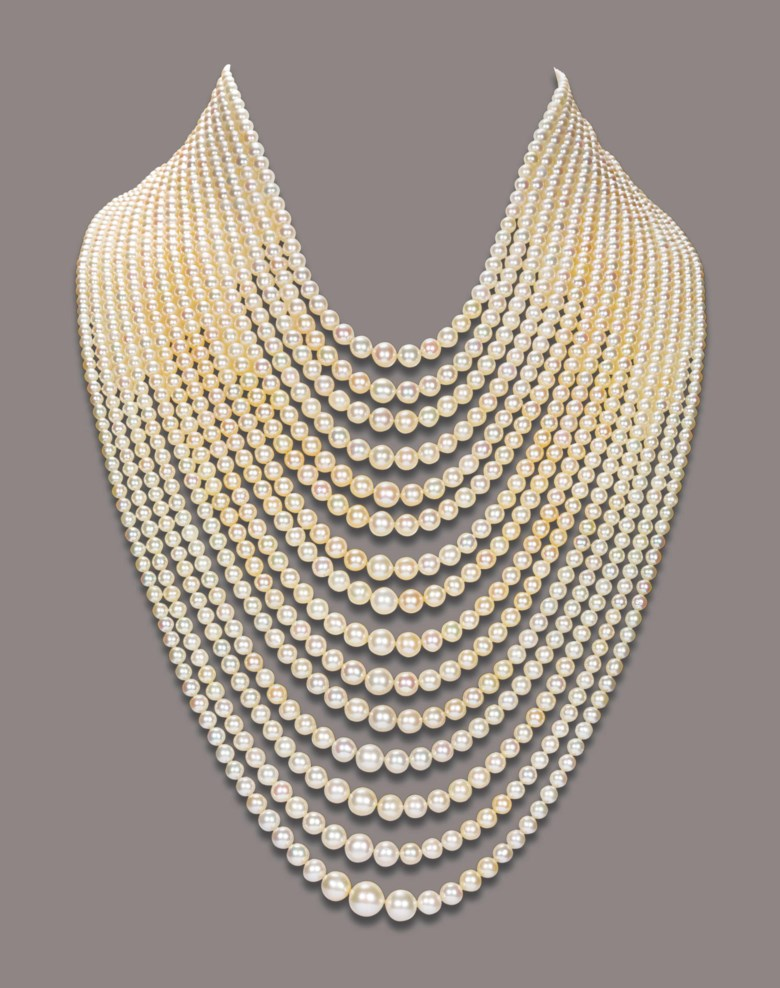 A natural pearl necklace, accompanied by report No. 59814 dated 21 June 2011 from the SSEF (Swiss Gemmological Institute) stating that the 1446 pearls are natural saltwater pearls . Accompanied by report  No. 59814 dated 21 June 2011 from the SSEF (Swiss Gemmological Institute) stating that the 1446 pearls are natural saltwater pearls. Sold for CHF 1,083,000 on 16 November 2011 at Christie's in