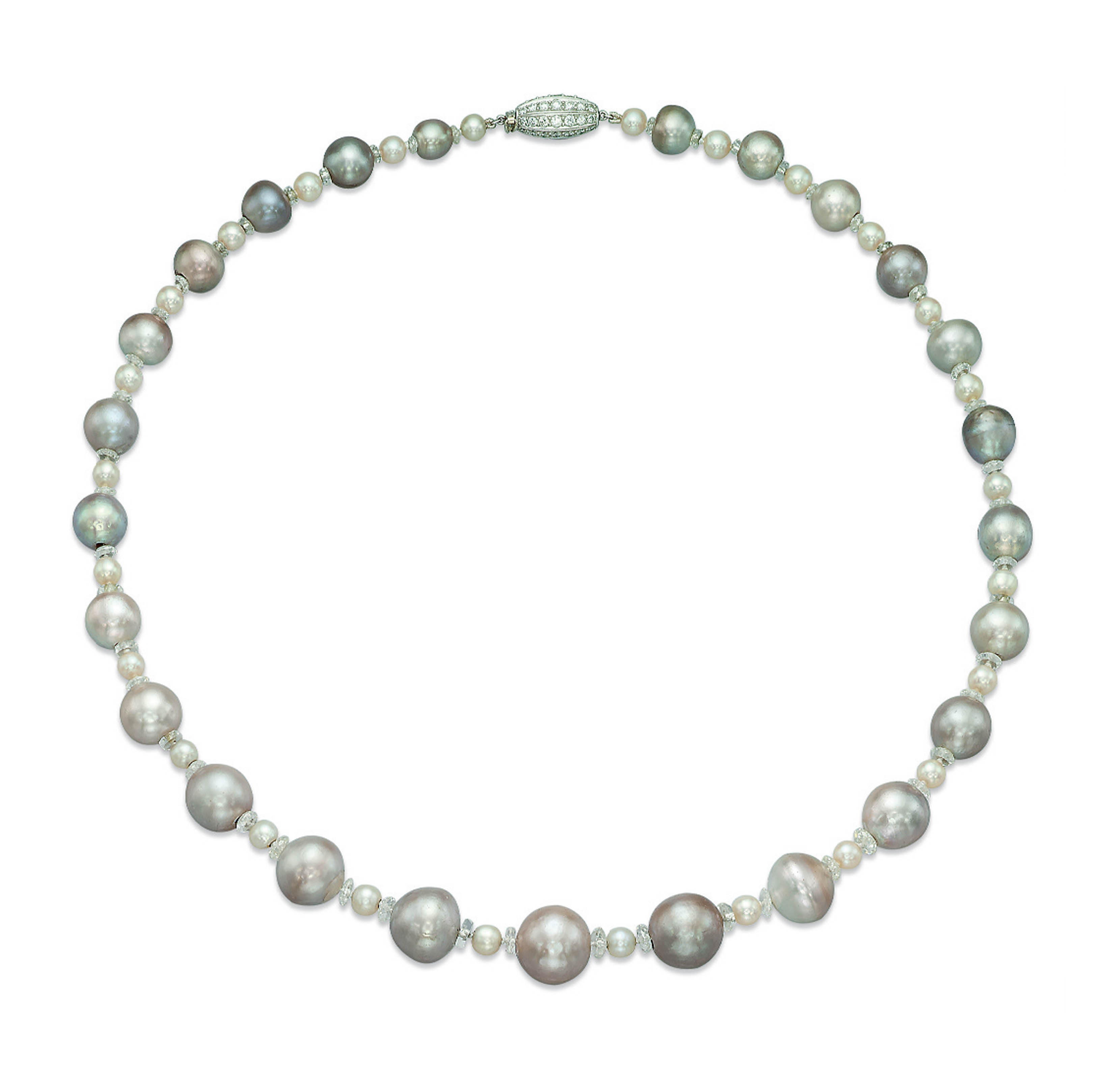AN ELEGANT NATURAL PEARL, DIAMOND AND ROCK CRYSTAL NECKLACE, BY VAN CLEEF & ARPELS